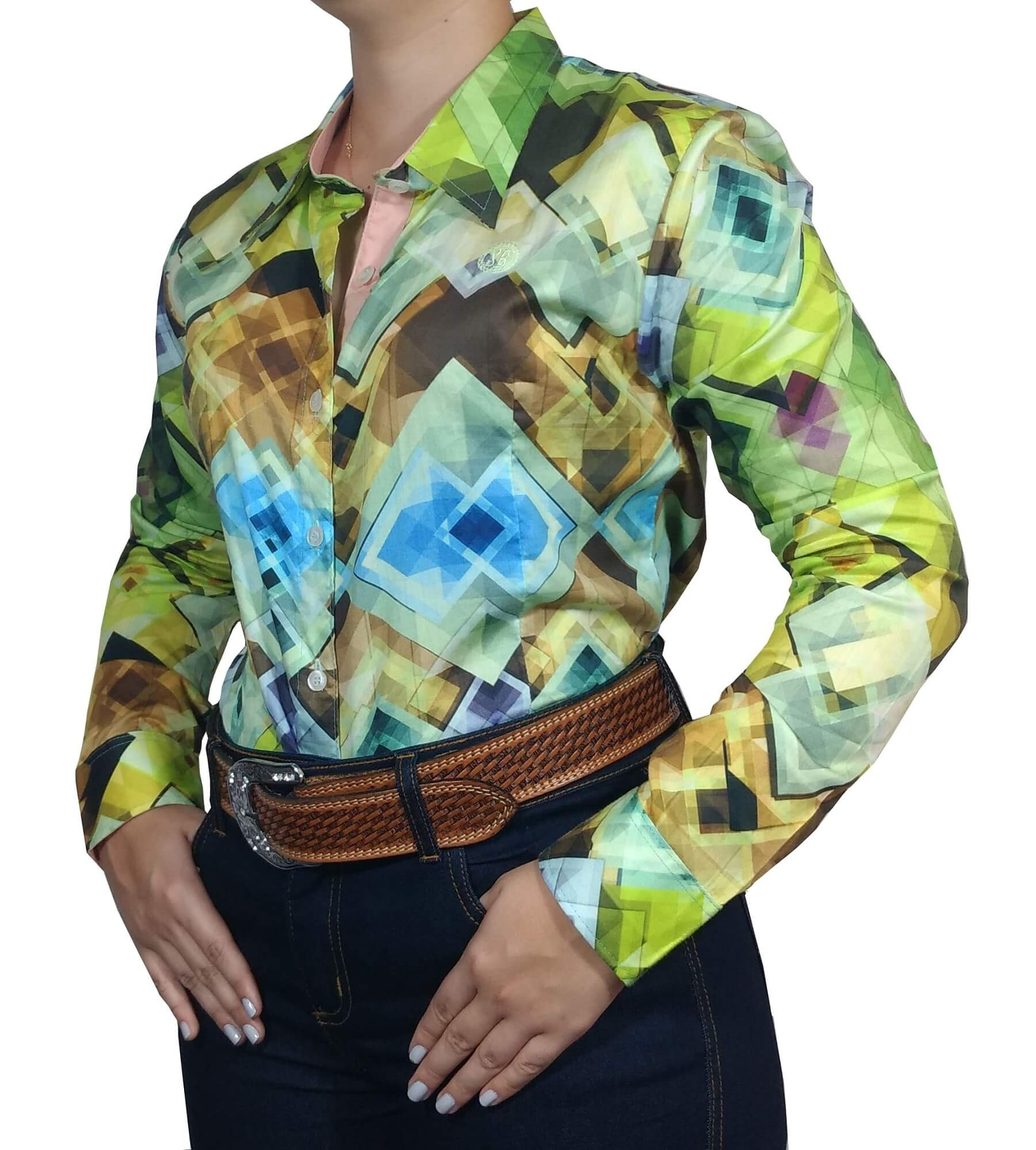 Camisa Feminina Smith Brothers Ref. Estampa Losangos Coloridos