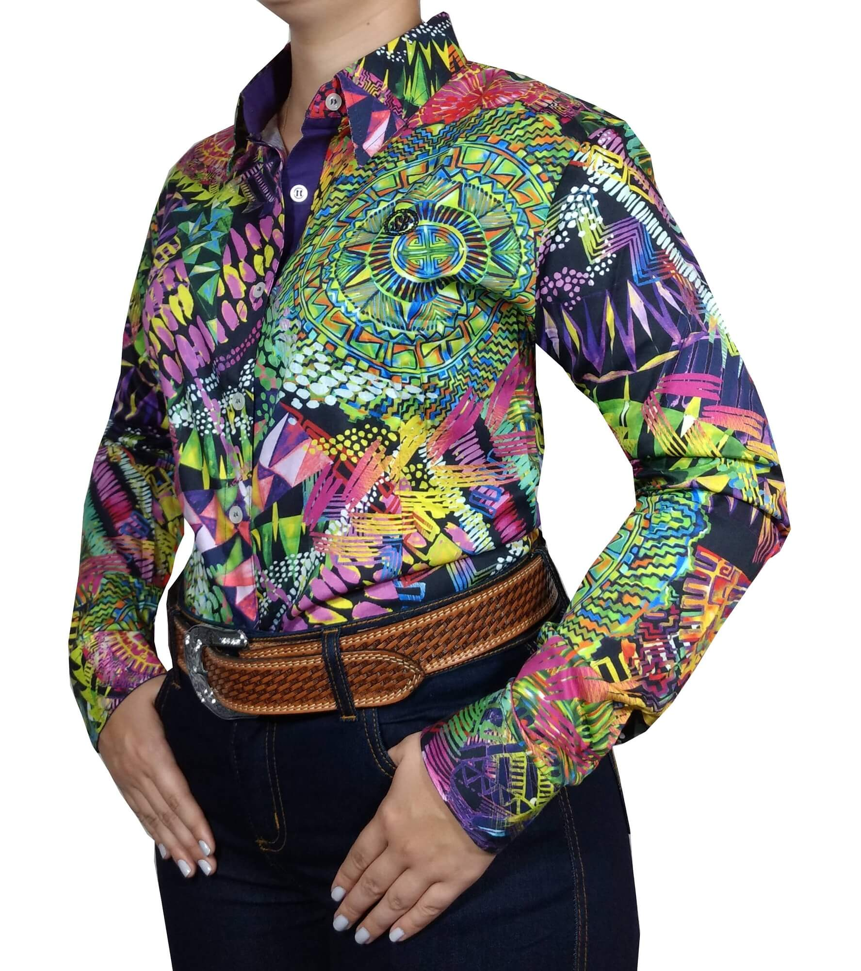 Camisa Feminina Smith Brothers Ref. Floral Mandala Colorida