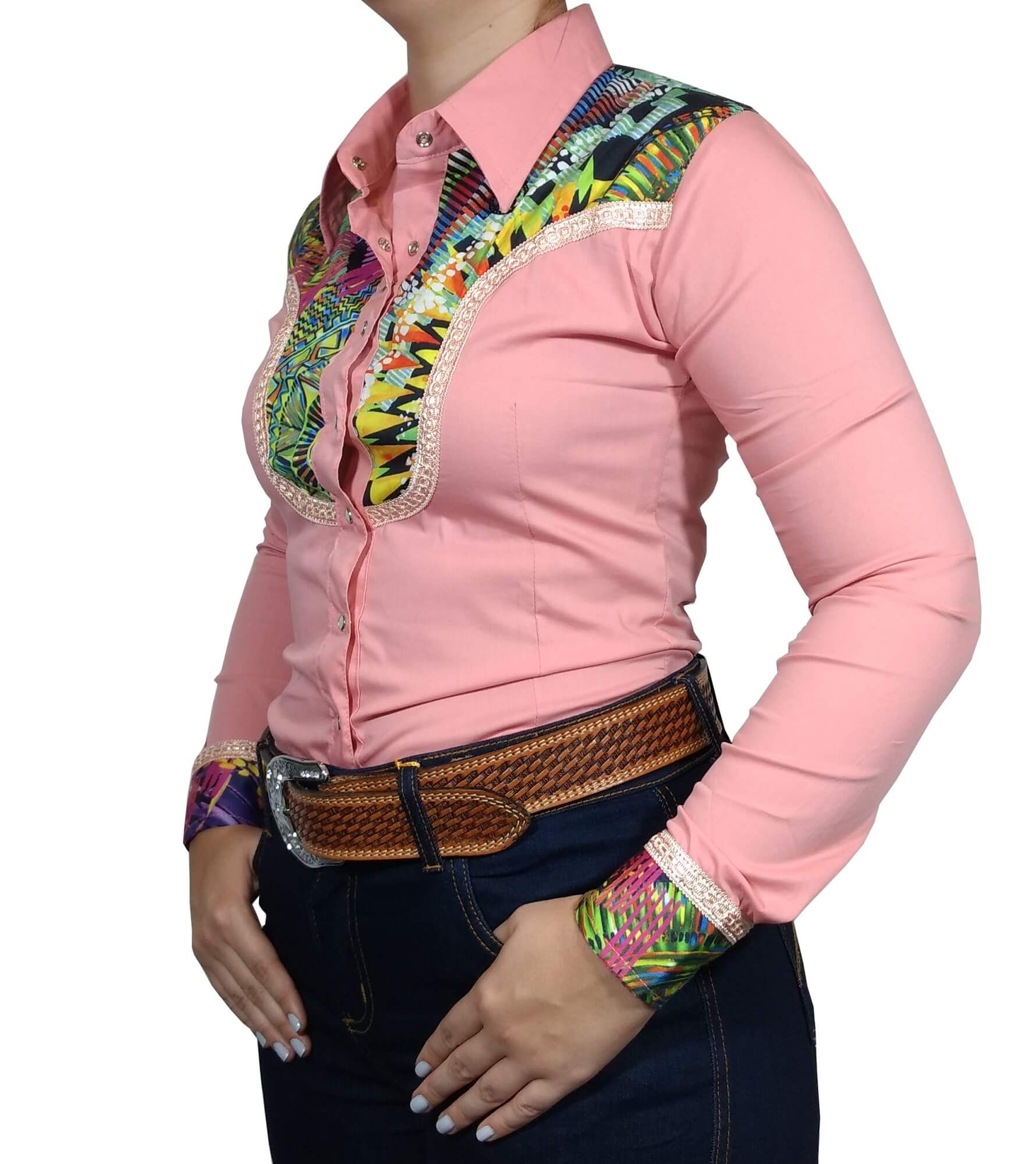 Camisa Feminina Smith Brother's Salmao Floral