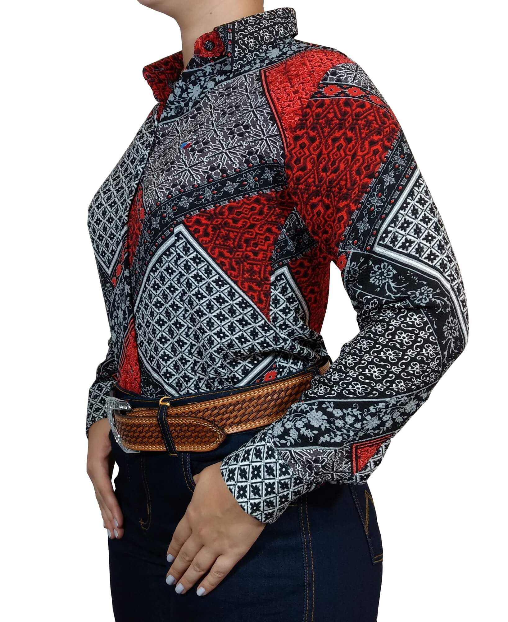 Camisa Feminina Smith Brothers Viscose Floral Vermelha Ref. 01