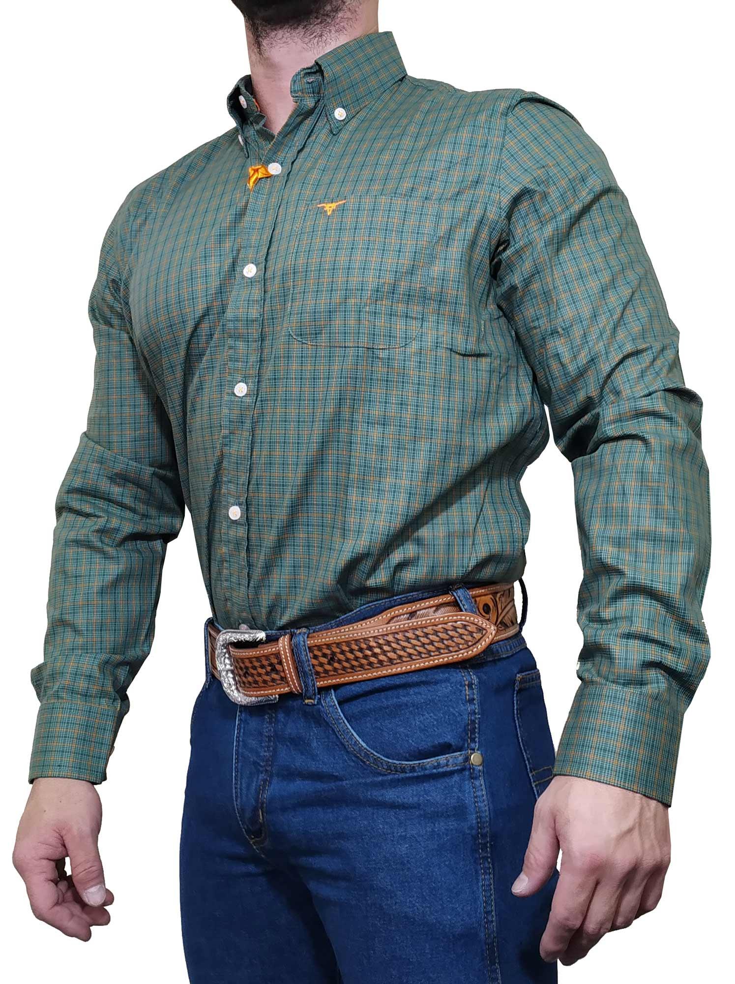 Camisa Masculina All Hunter Verde e laranja Ref. 827