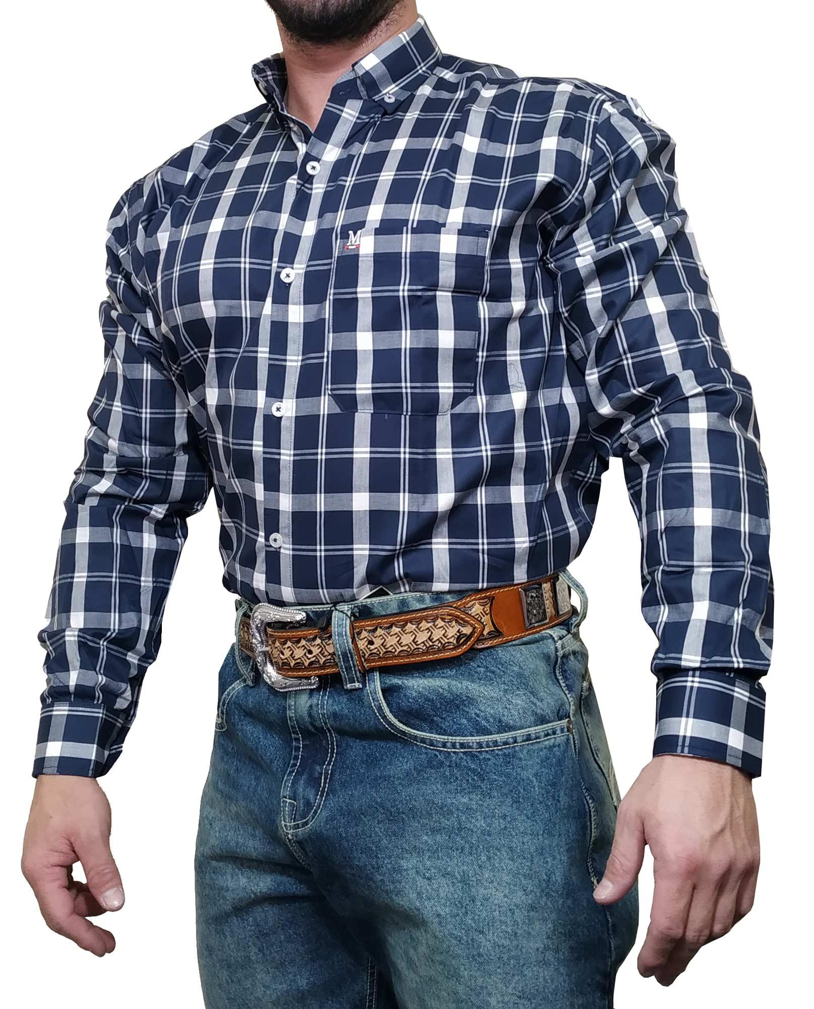 Camisa Masculina Minuty Country Ref. Xadrez Azul / Branco