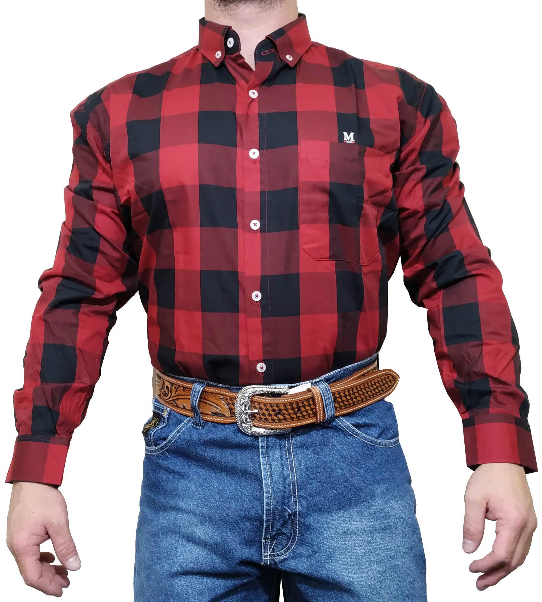 Camisa Masculina Minuty Ref. Xadrez Preto e Vermelho 2500