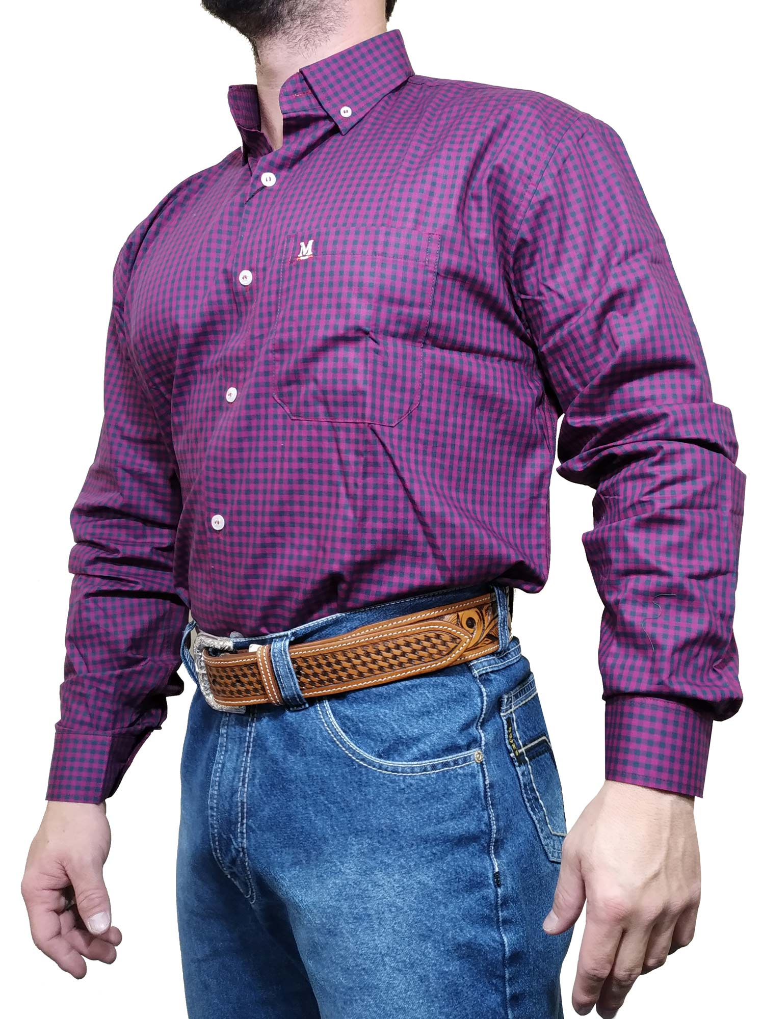 Camisa Masculina Minuty Ref. Xadrez Roxo 2910