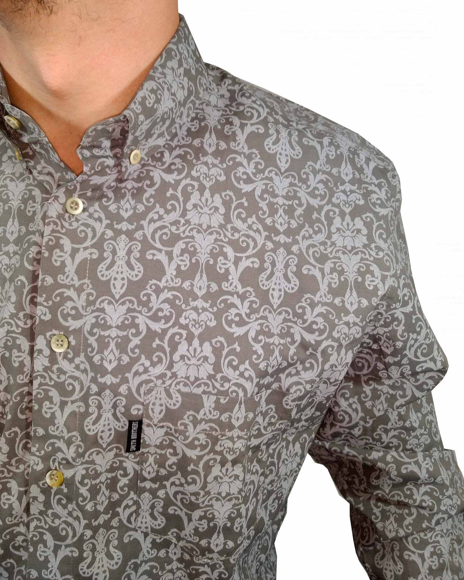 Camisa Masculina Smith Brother's Floral Cinza Ref. 12218/2