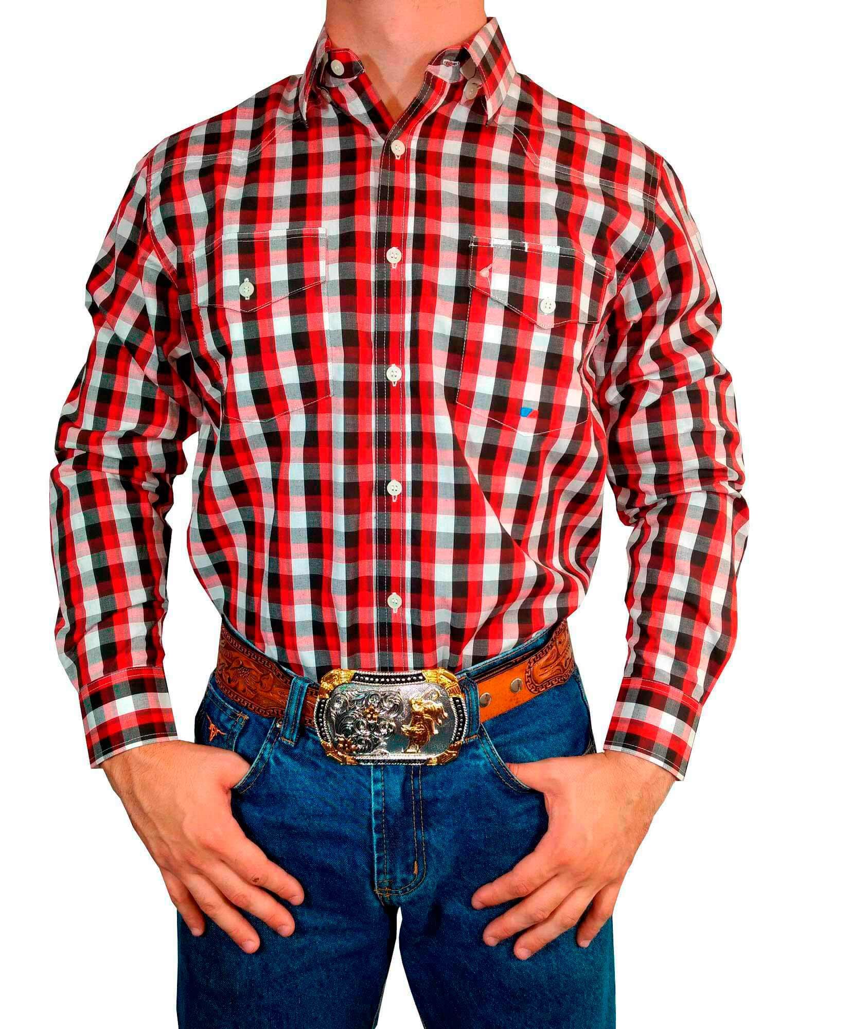 Camisa Masculina Smith Brother's Import. Xadrez Vermelho Ref. 7012