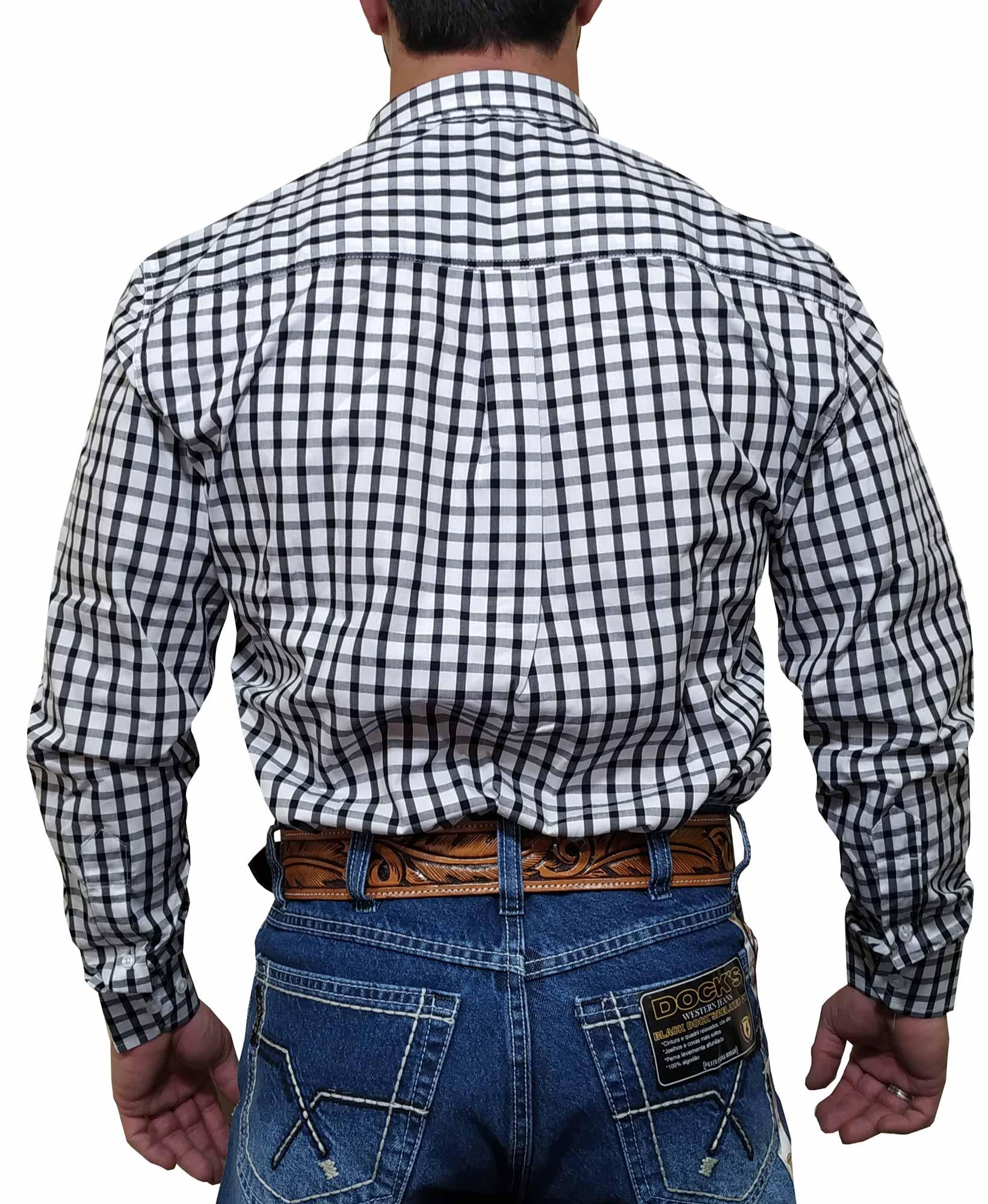 Camisa Masculina Smith Brothers Ref. Xadrez Preto e Branco