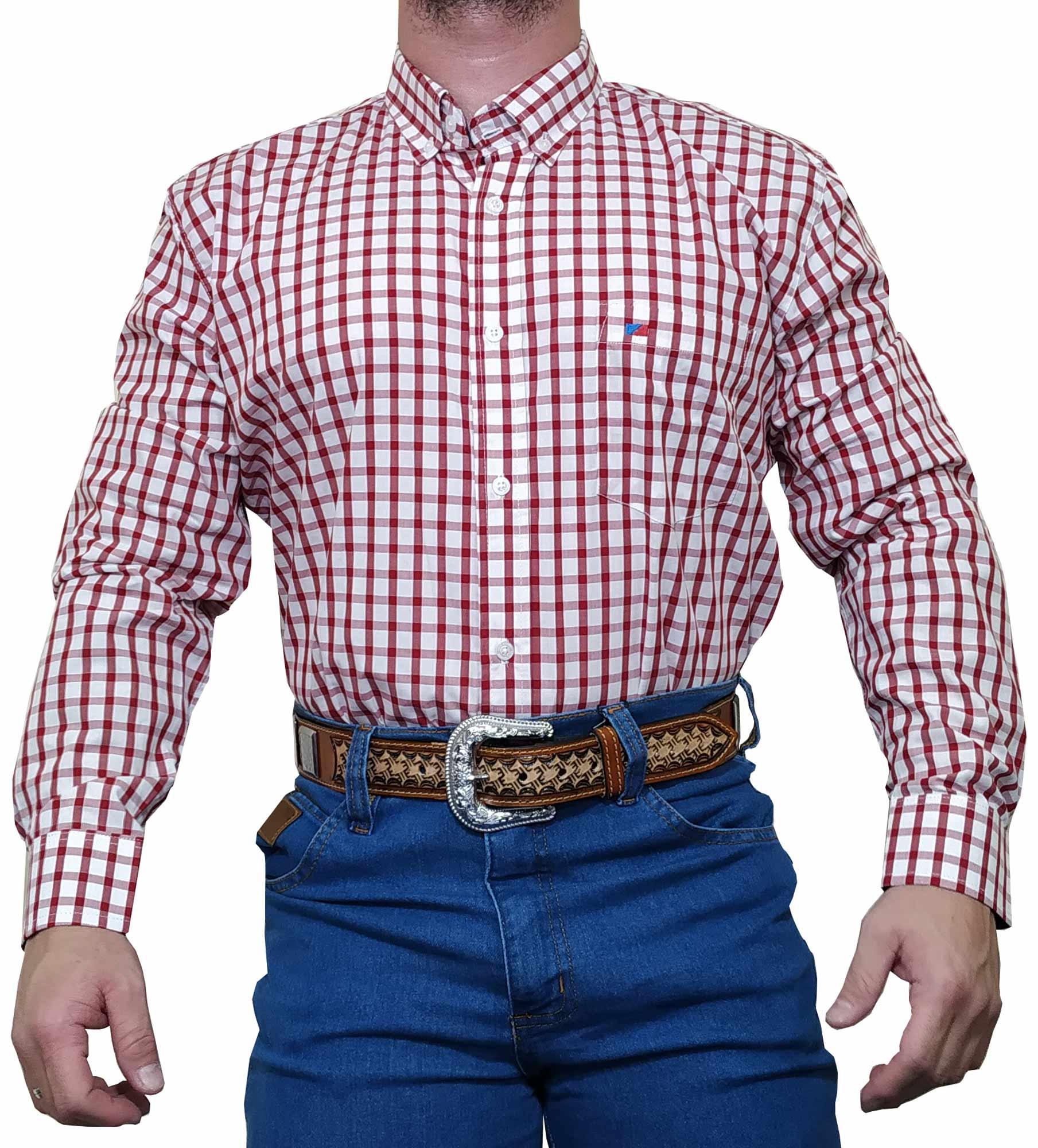 Camisa Masculina Smith Brothers Ref. Xadrez Vermelho / Branco