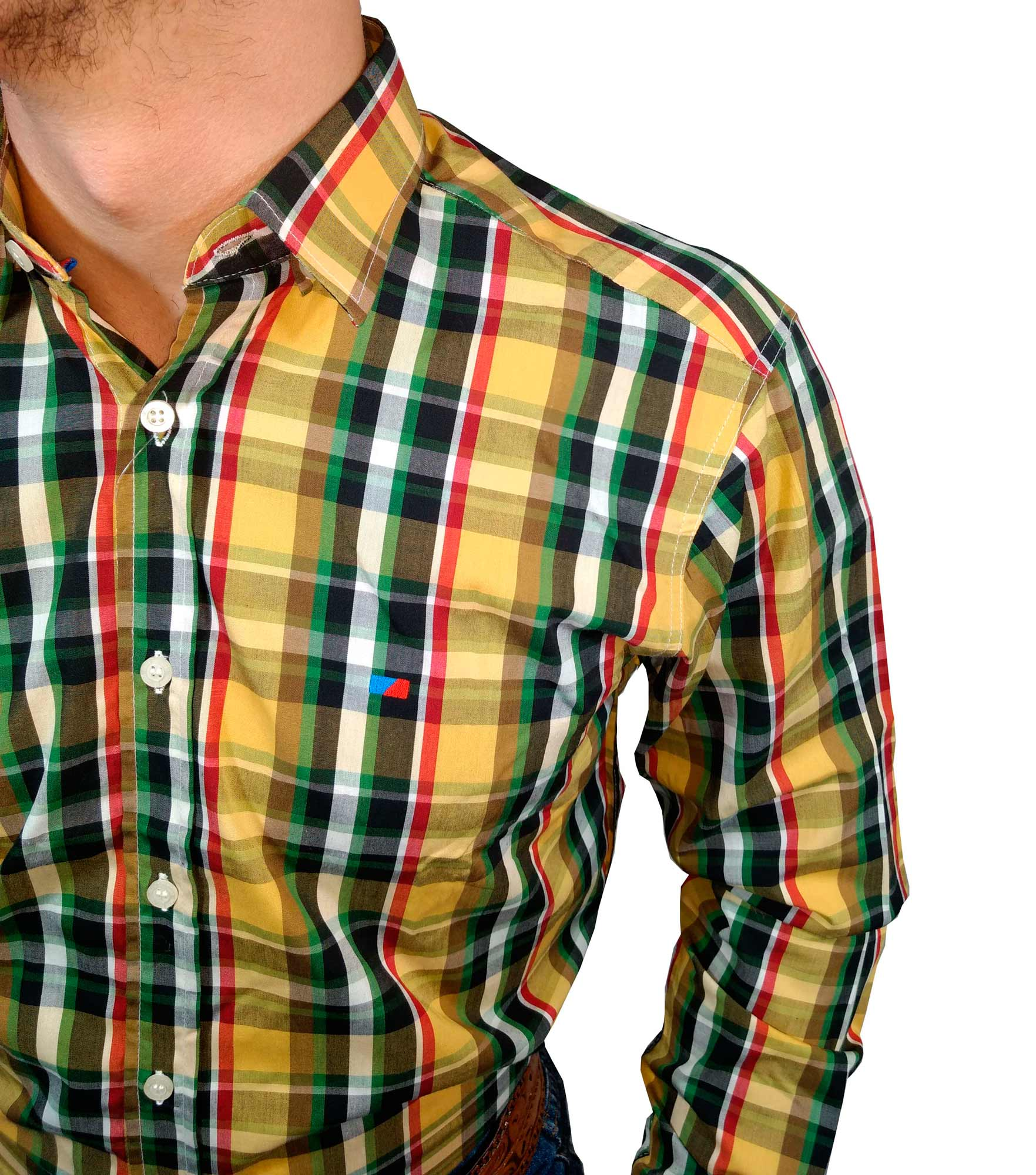 Camisa Masculina Smith Brother's Xadrez Amarelo Ref. 7012/2