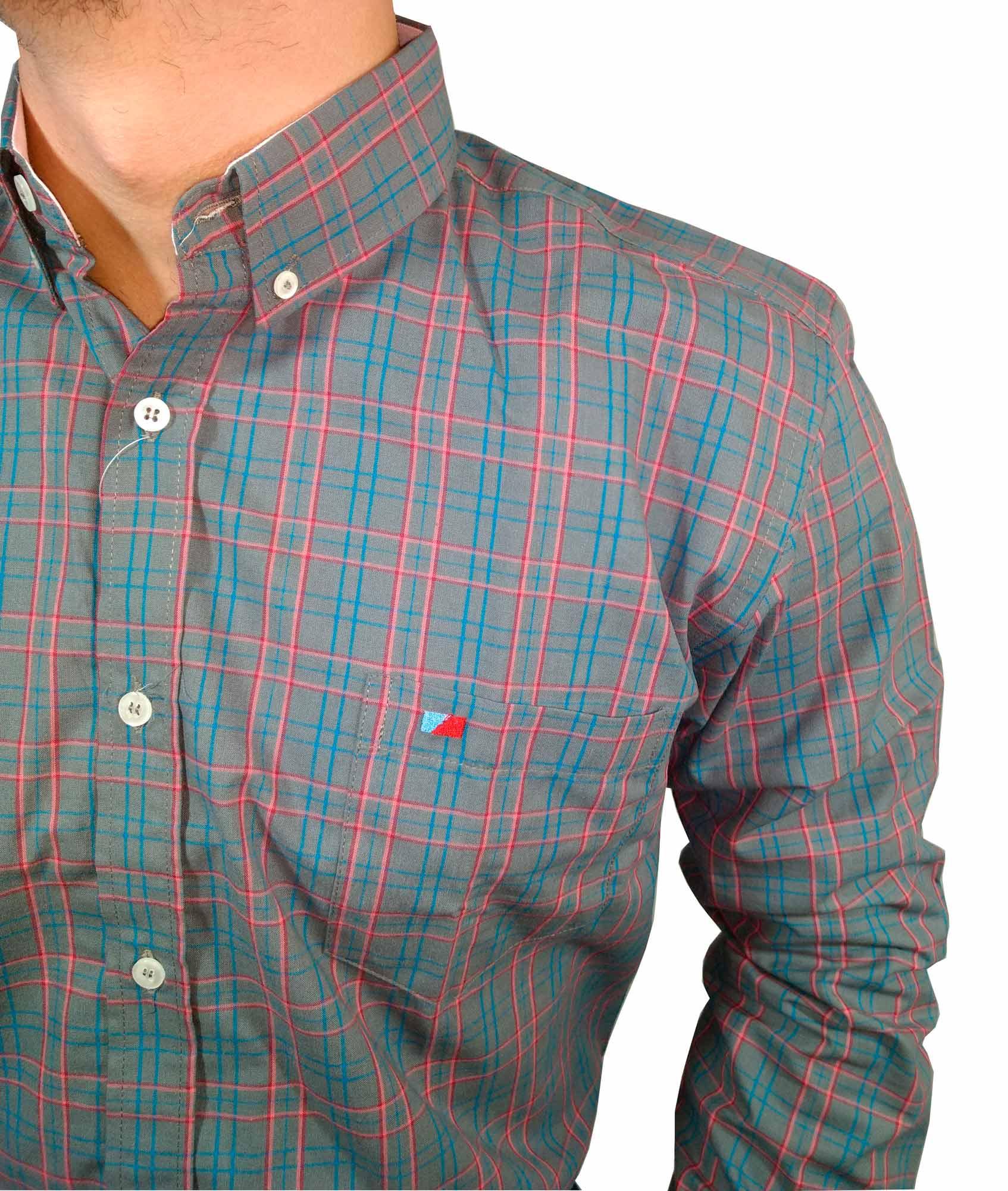 Camisa Masculina Smith Brother's Xadrez Cinza e Rosa Ref. 11395