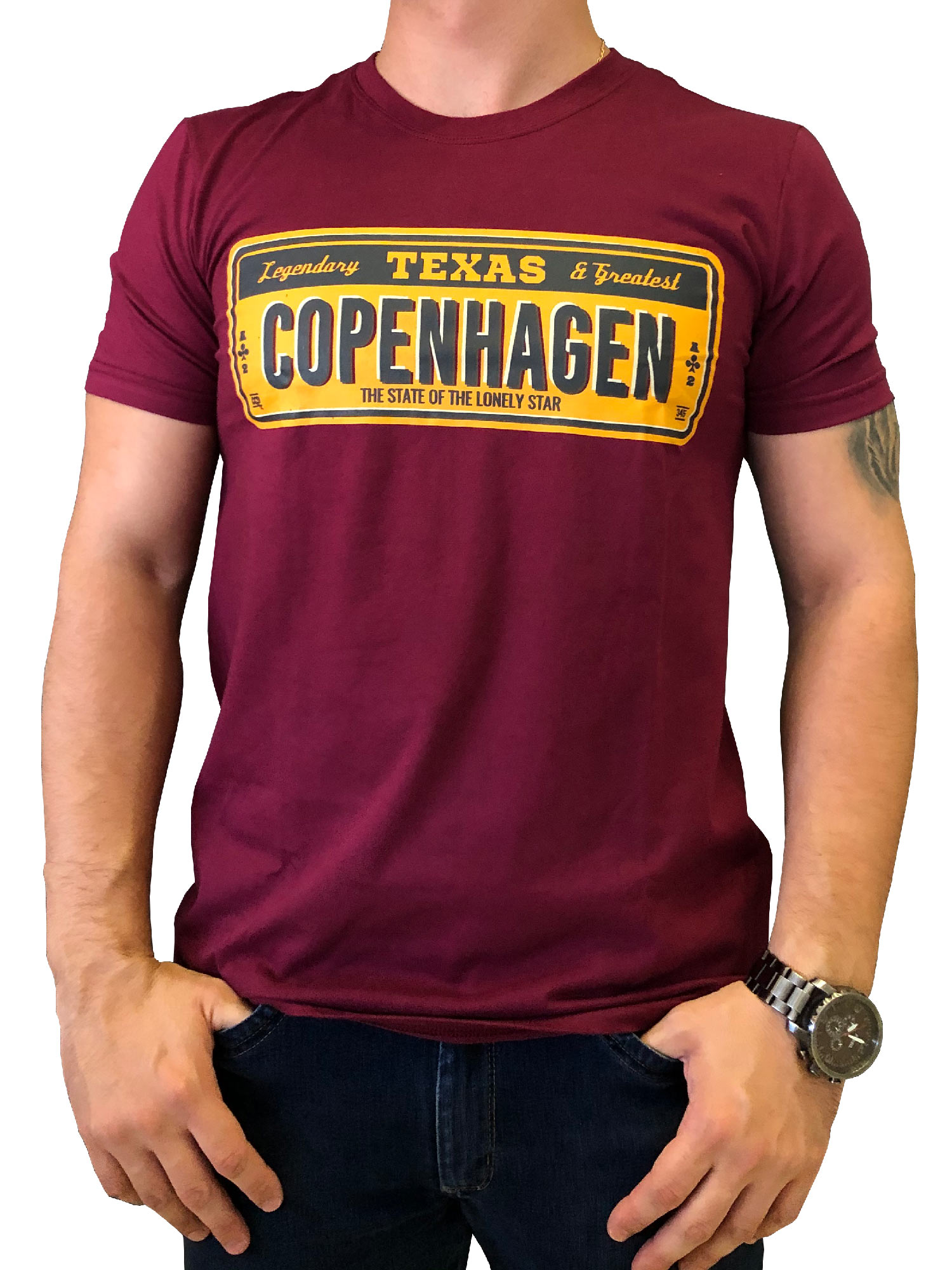 Camiseta Copenhagen Texas Greatest Vinho