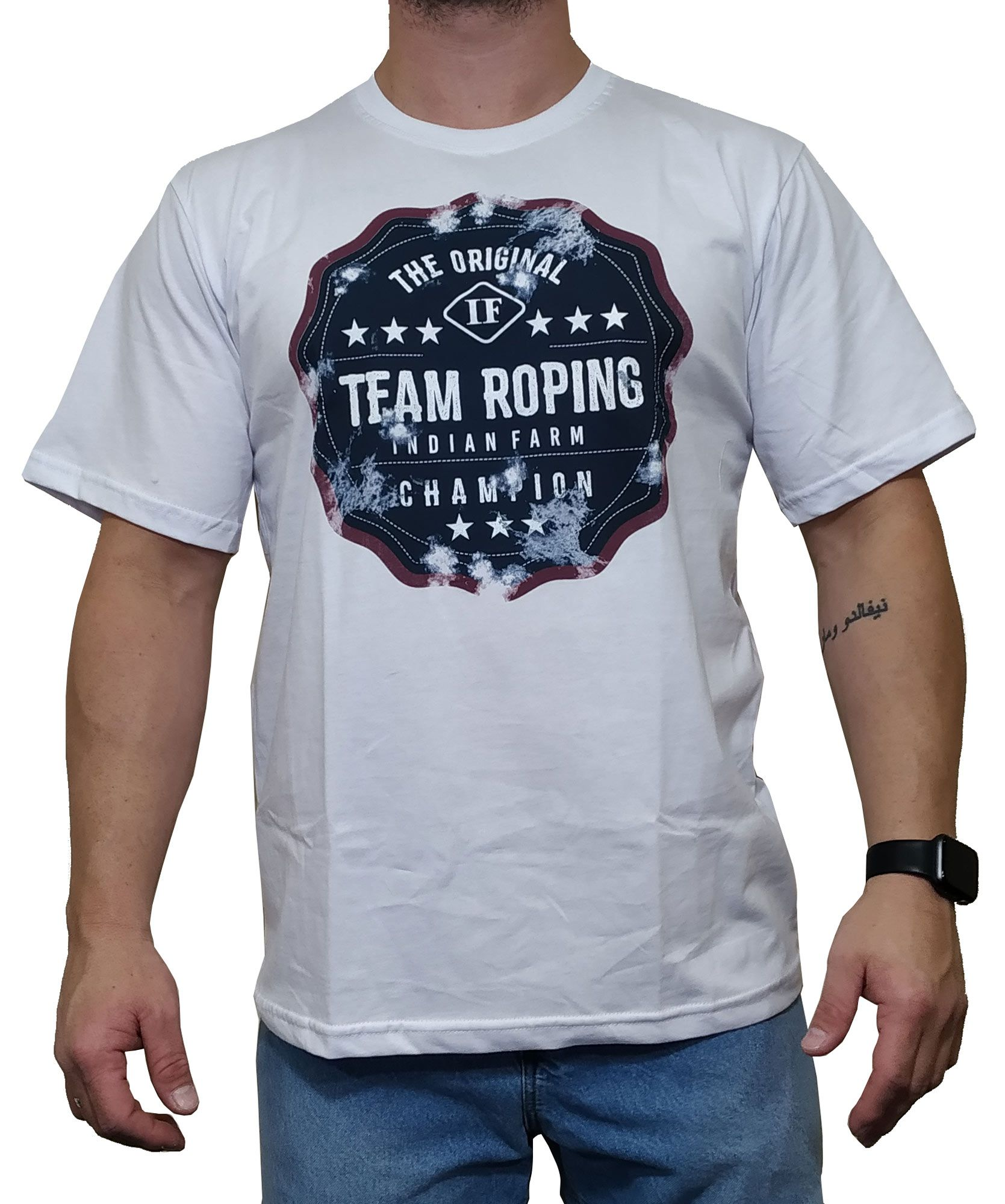 Camiseta Indian Farm Branca Ref. Team Roping