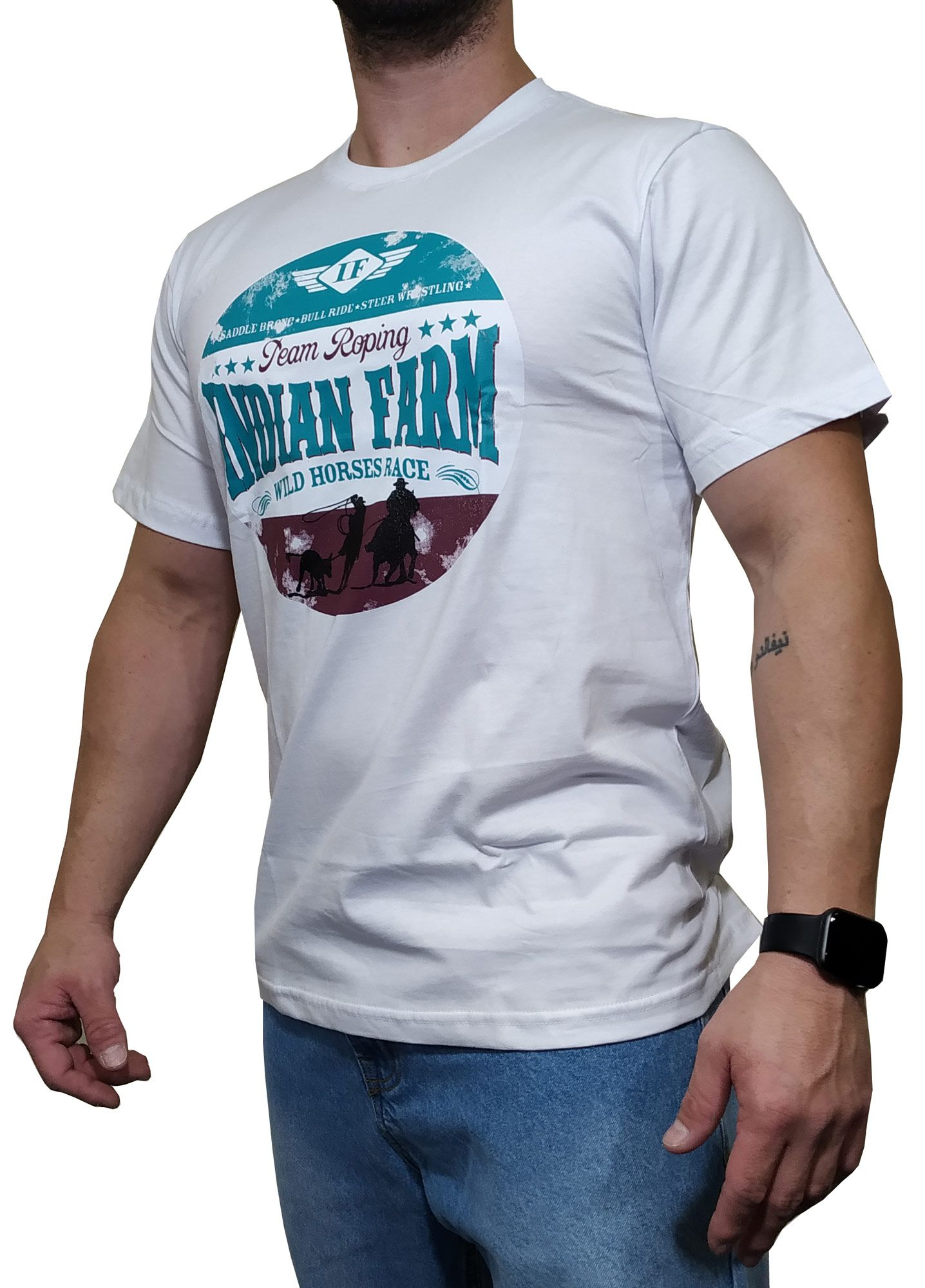Camiseta Indian Farm Branca Ref. Wild Horses Race