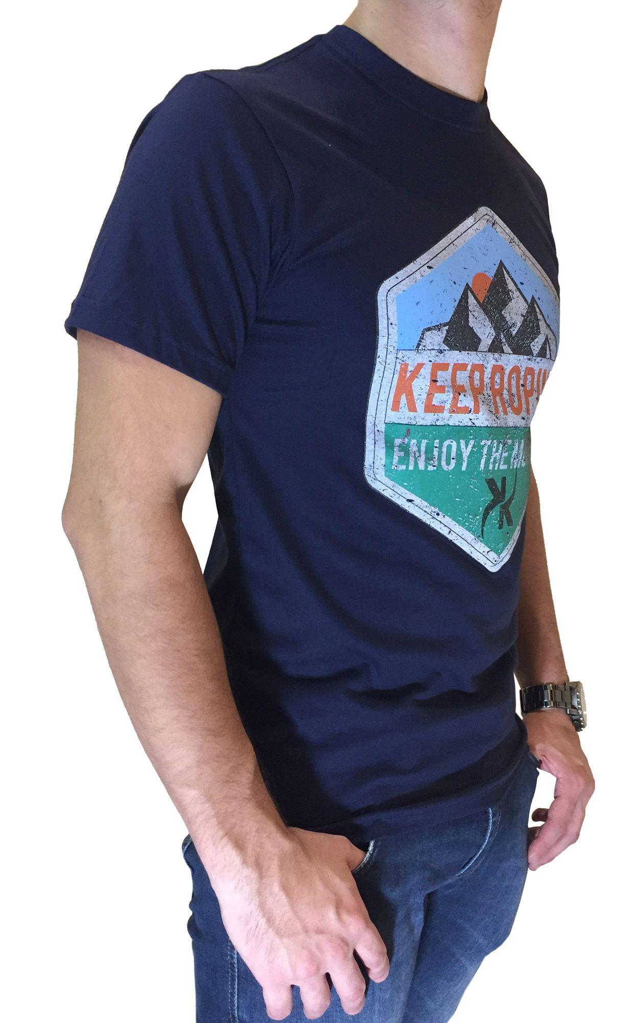 Camiseta Masculina Keep Roping Azul Marinho Ref. Montain