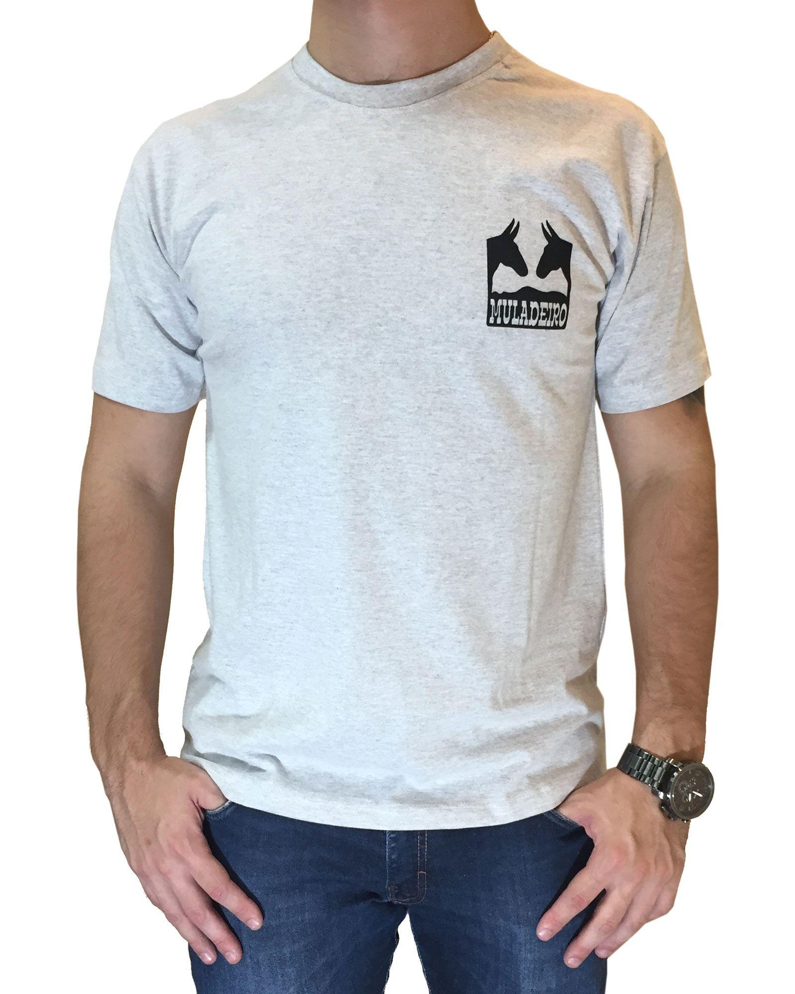 Camiseta Masculina PRCA Cinza Ref. Muladeiro