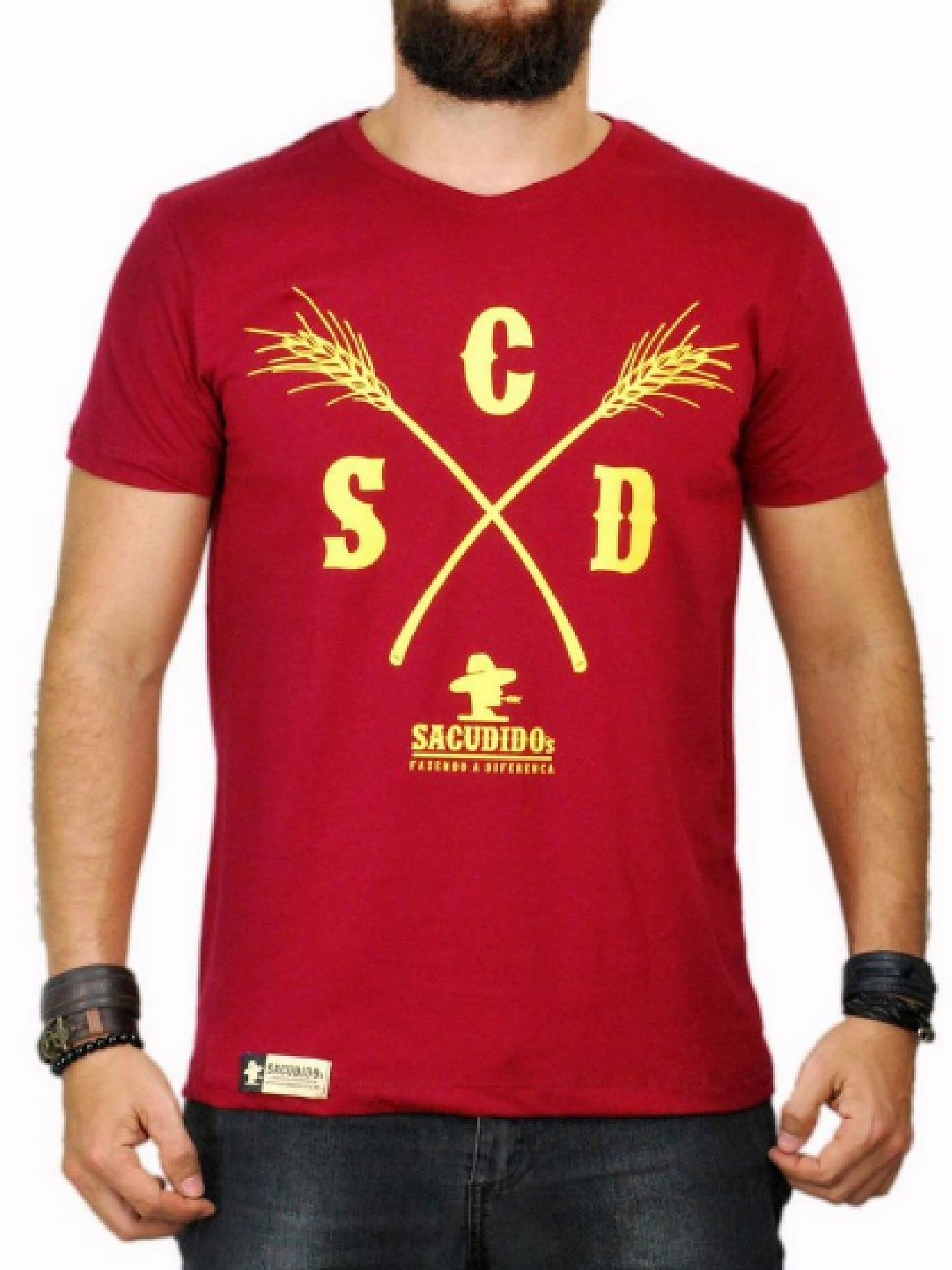 Camiseta Masculina Sacudido's Capim Vinho e Amarelo