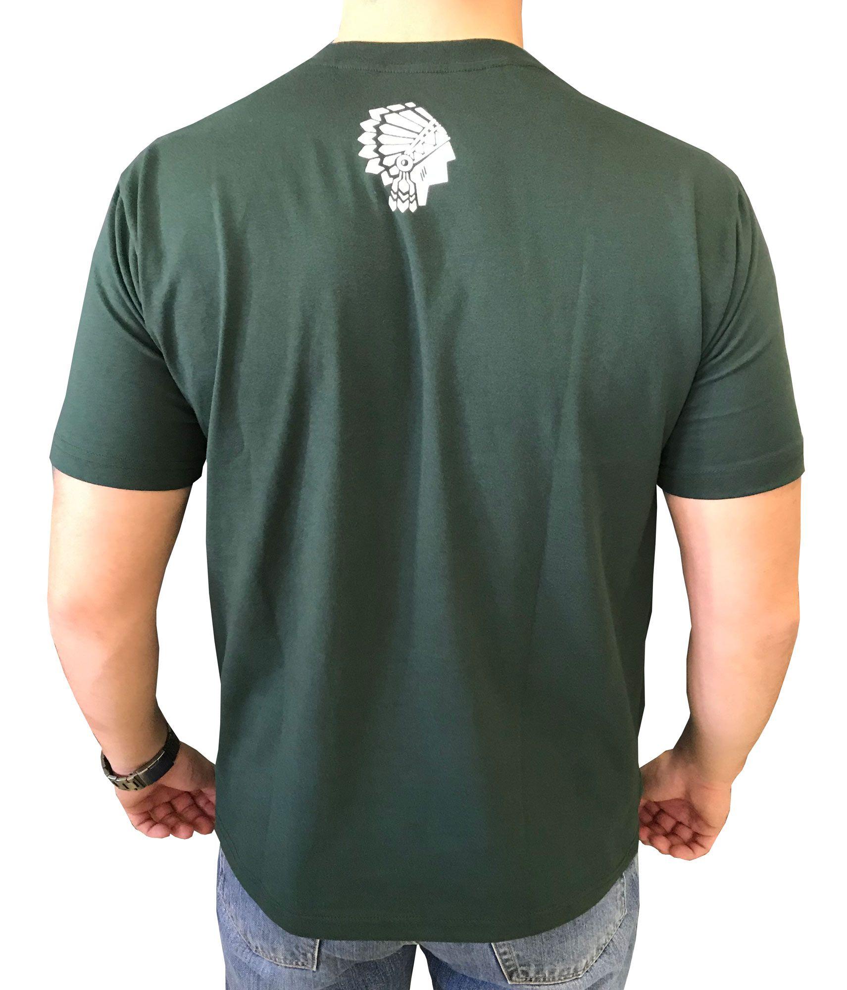 Camiseta Masculina Spirit West Verde Escrita Branco