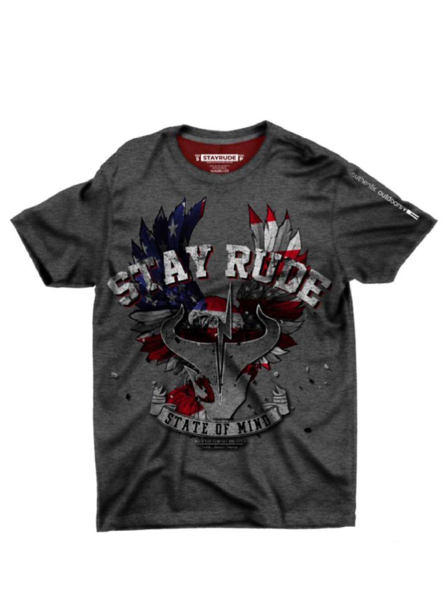 Camiseta Masculina Stay Rude Eagle State Mescla