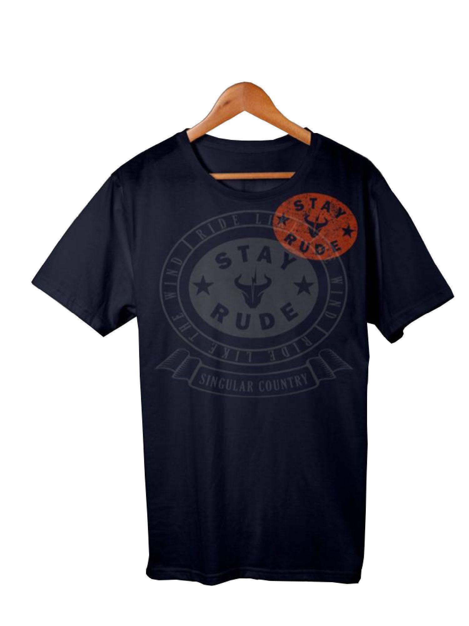 Camiseta Masculina Stay Rude Ride Like Blue/Orange