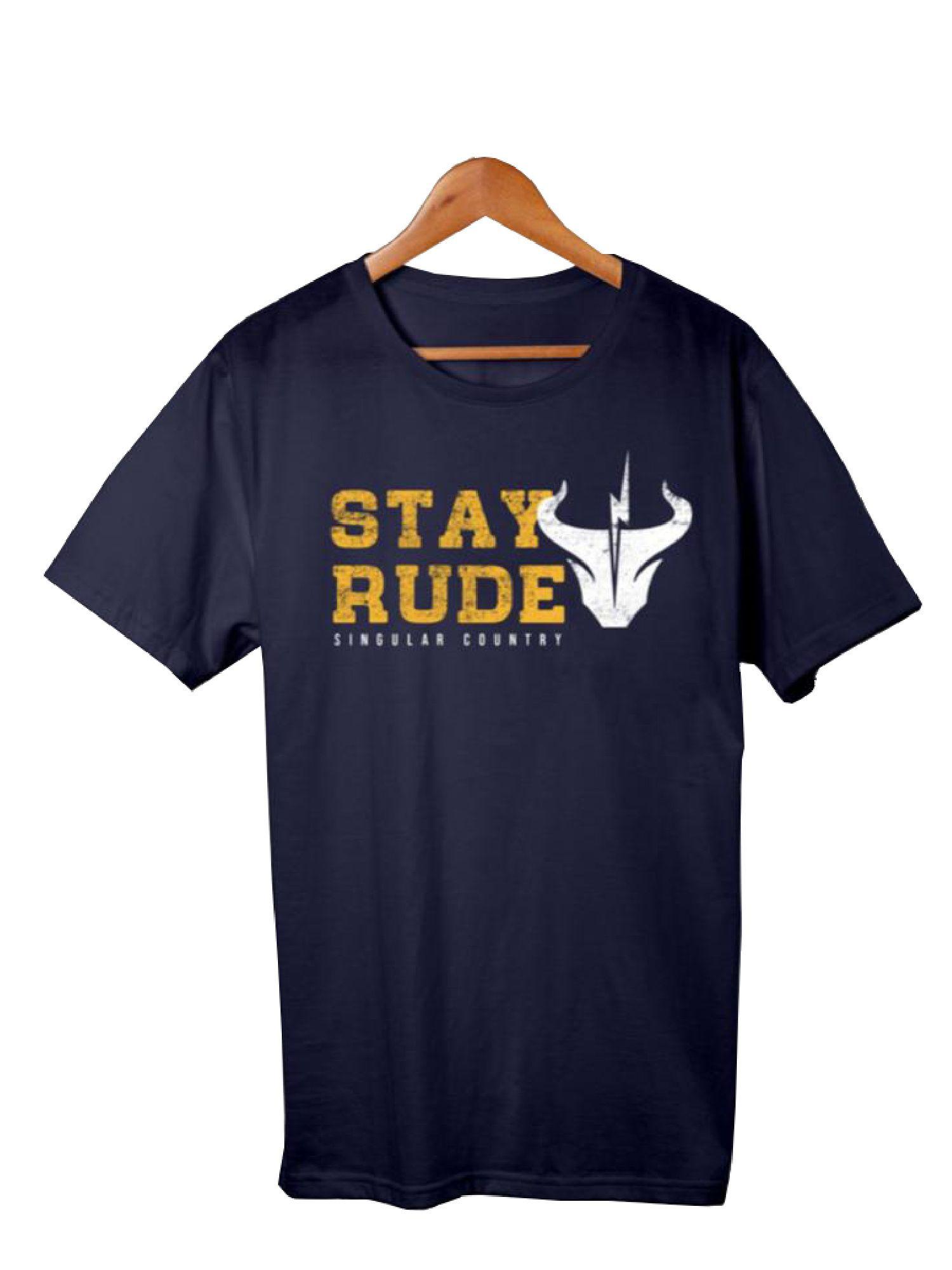 Camiseta Masculina Stay Rude Singular Country Azul Marinho