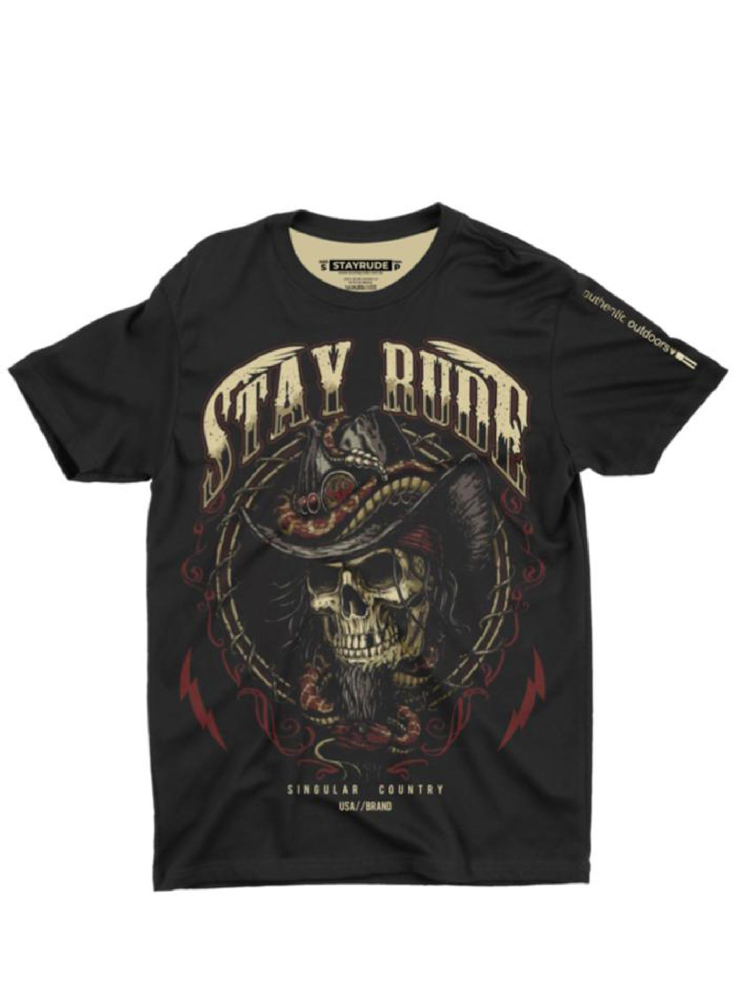 Camiseta Masculina Stay Rude Skull Country