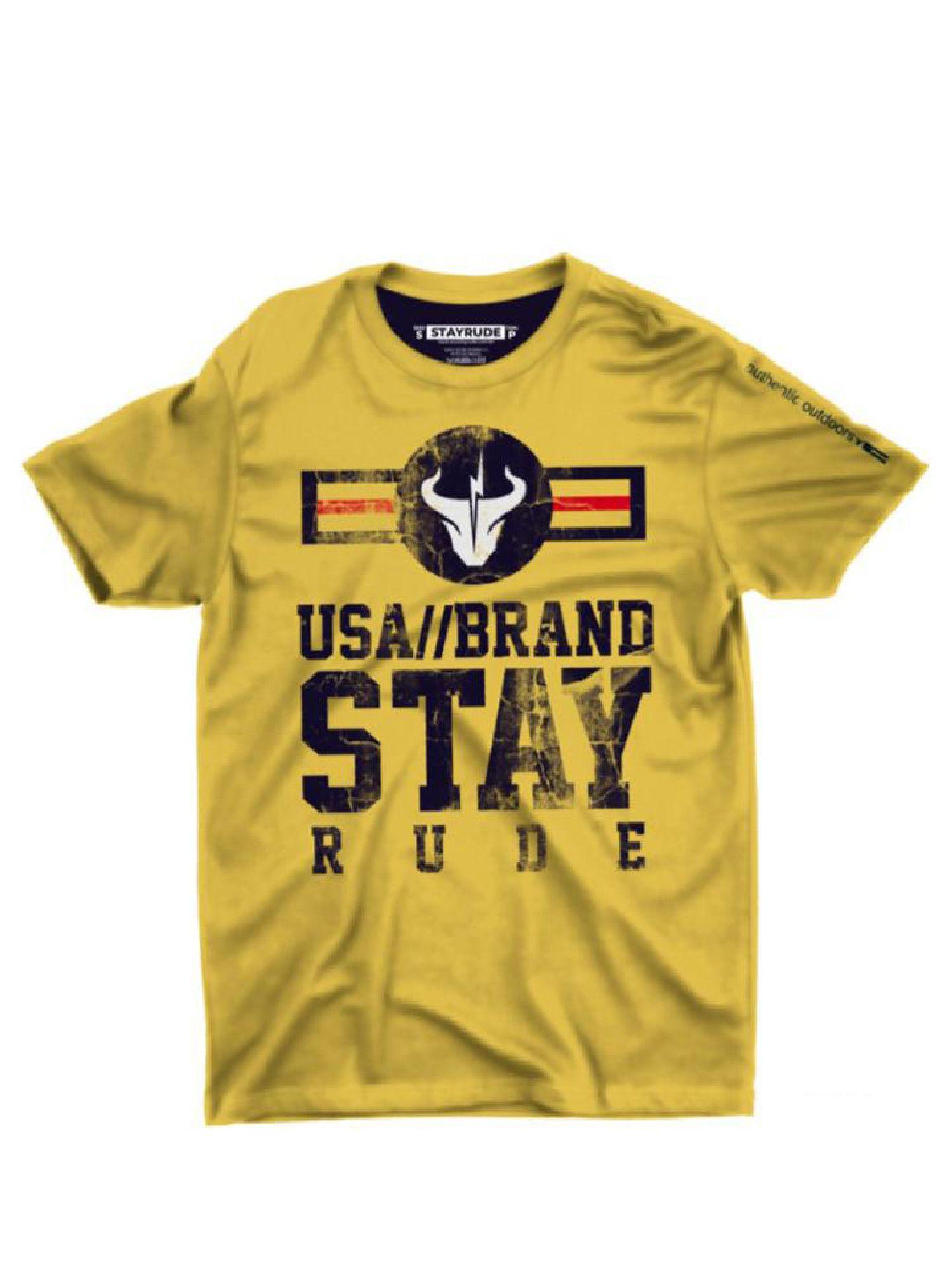 Camiseta Masculina Stay Rude USA Brand Amarela