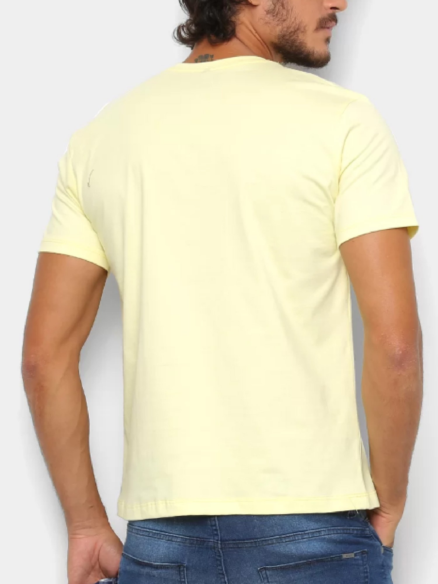 Camiseta Masculina Wrangler Amarela Logo Azul Ref. WM58522AM