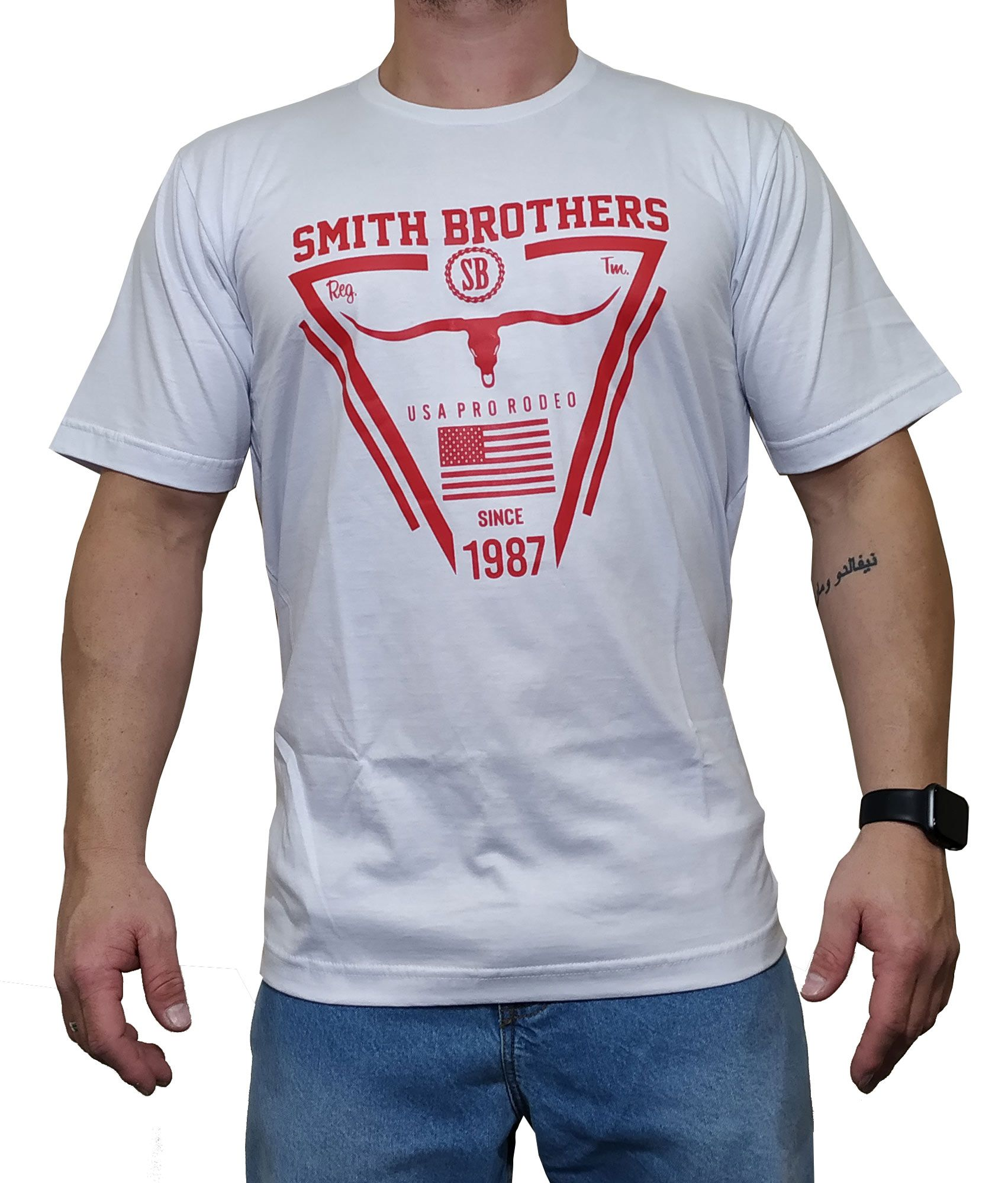 Camiseta Smith Brothers Branca Ref. USA Rodeo
