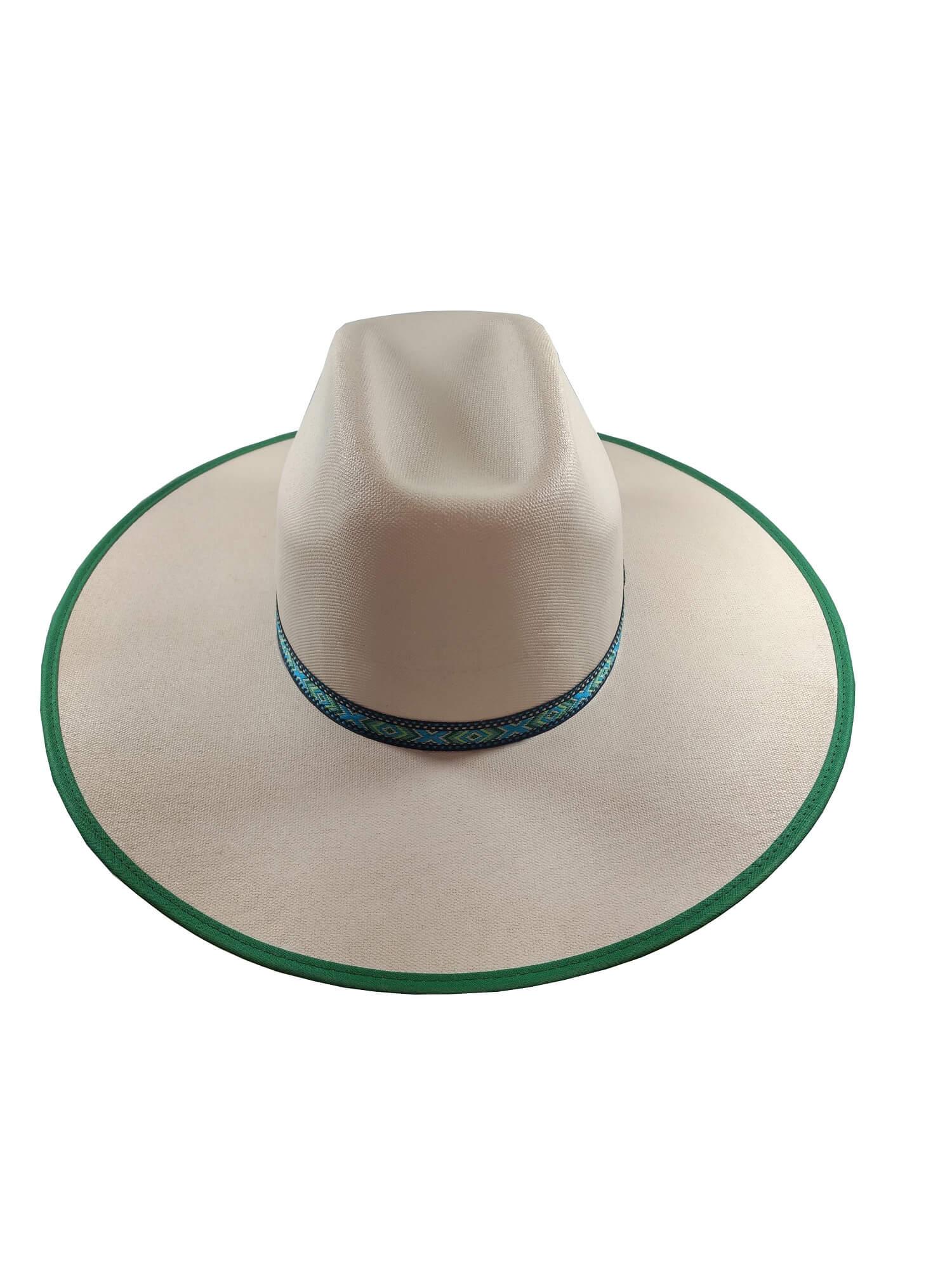 Chapéu Dallas Branco com Viés Verde  Ref. 6777