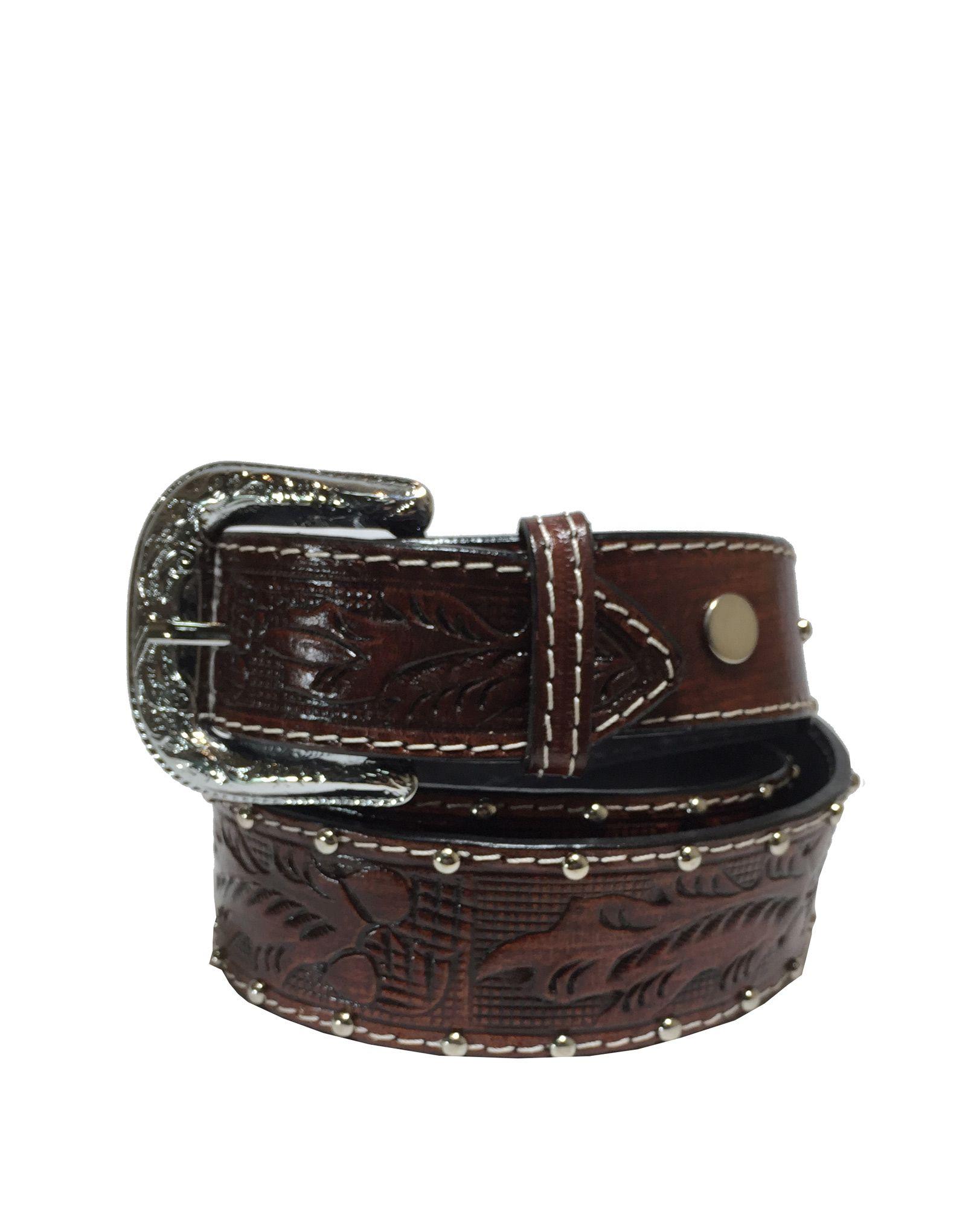 Cinto Cowboy Brand Café Entalhado Ref. 205