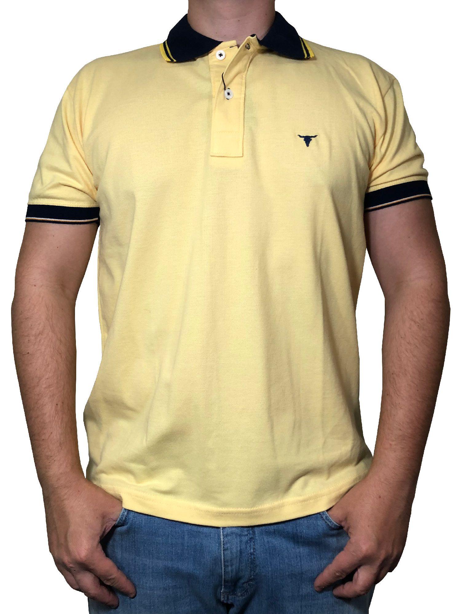 Polo Masculina Laço Forte Amarelo Claro