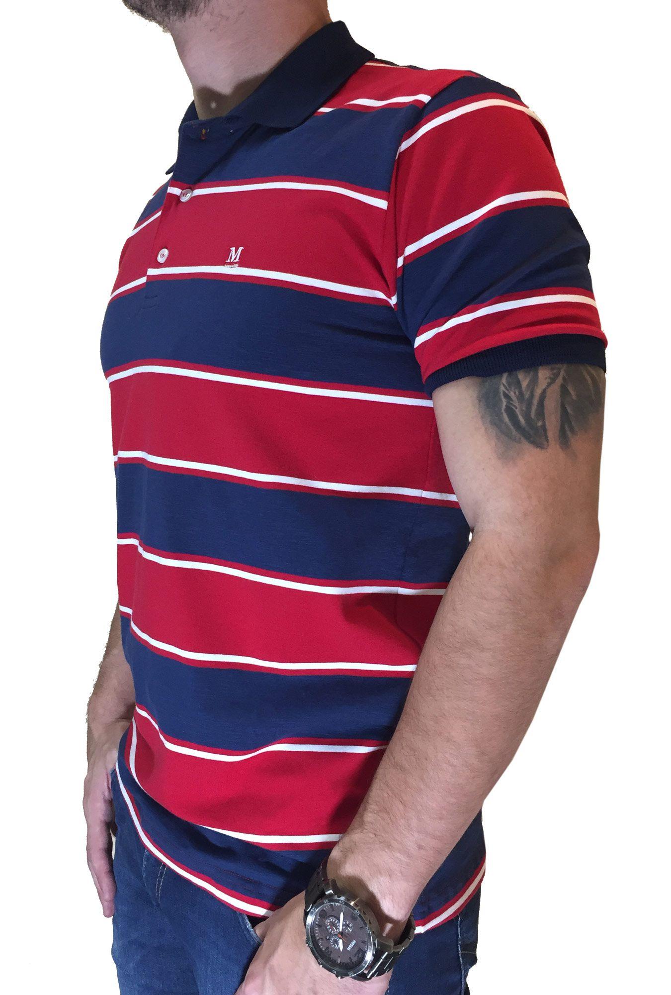 Polo Masculina Minuty Listras Vermelho e Azul Marinho Ref. 2700