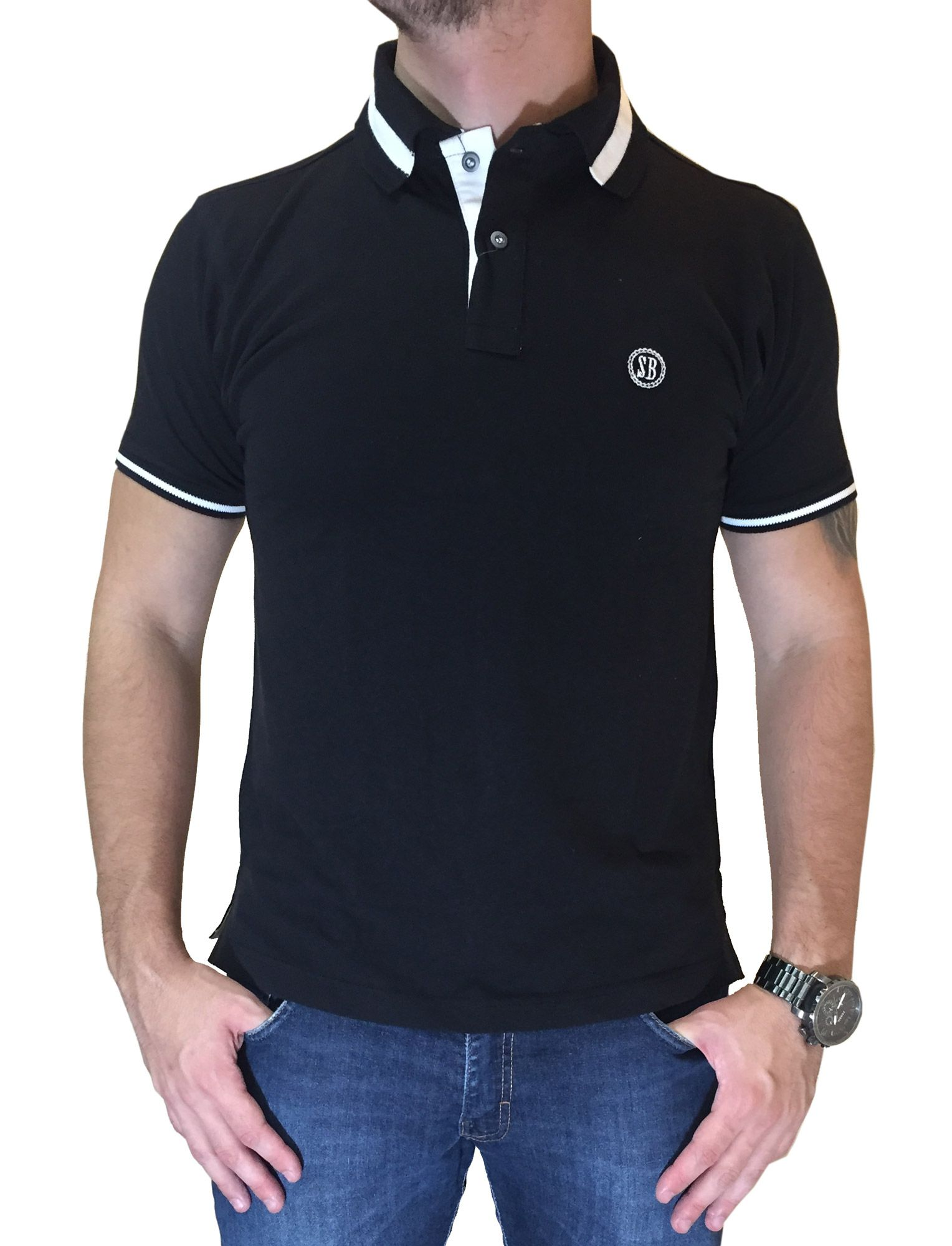 Polo Masculina Smith Brother's Preta com Bordado Branco