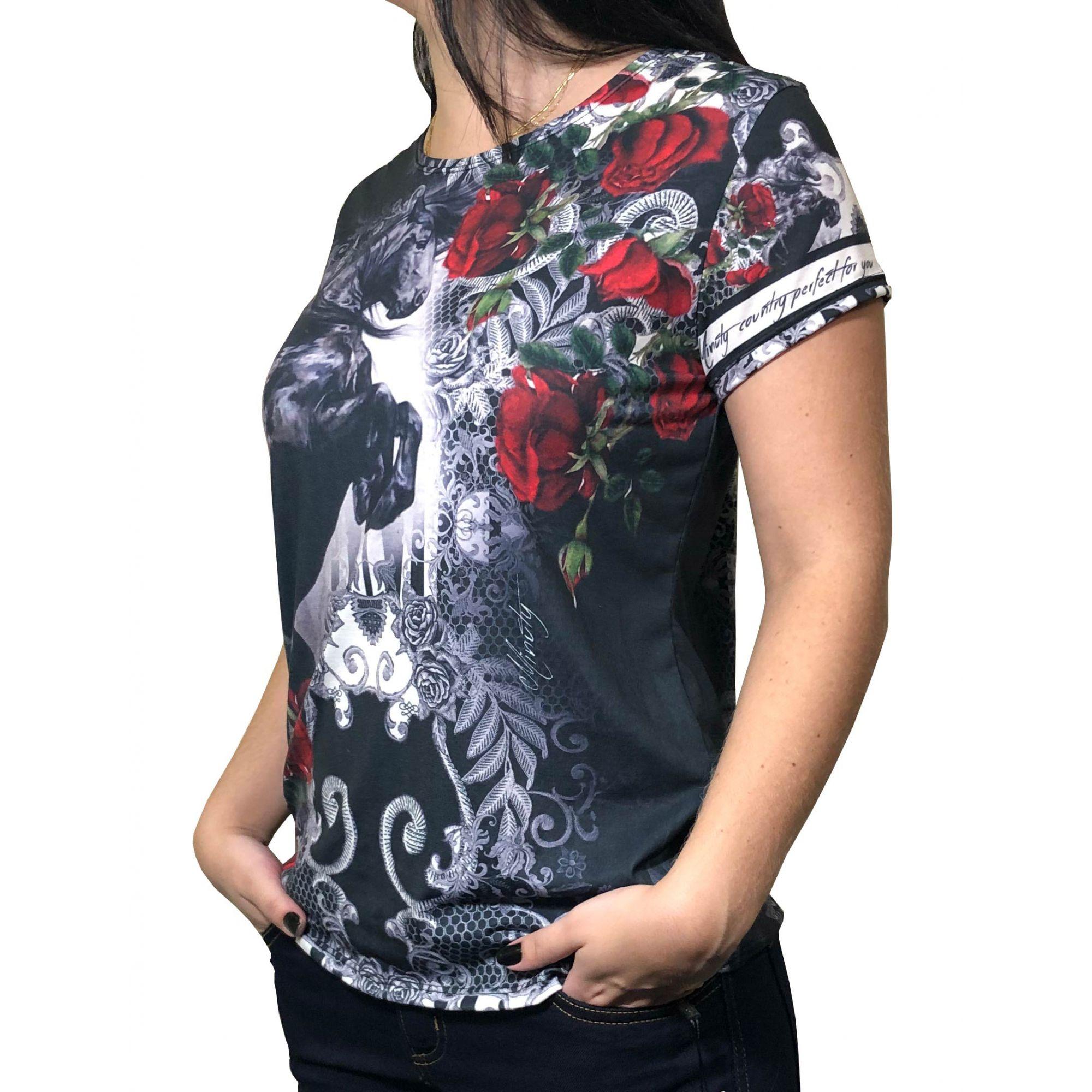 T-Shirt Feminina Minuty Black Ref. 2020