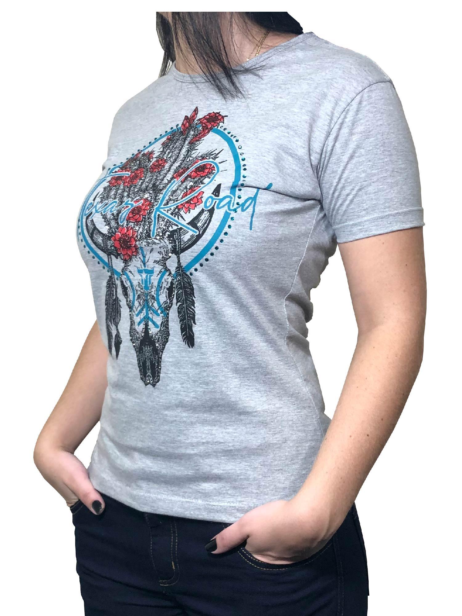 T-Shirt Feminina Texas Road C/ Brilhos