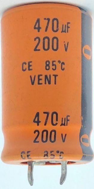 CAPACITOR ELETROLITICO 470UF 200V RADIAL SNAP-IN 26X40MM VENT