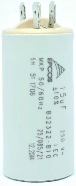 CAPACITOR PPM 15UF 250VCA B32322-B10 30X61MM FASTON EPCOS (B32322B10)