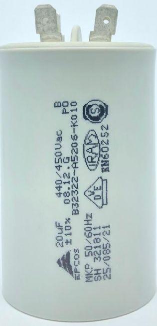 CAPACITOR PPM 20UF 440VCA/450VCA B32322-A5206-K010 45X72MM FASTON EPCOS (B32322A5206K010)