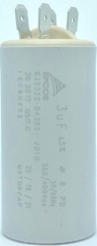 CAPACITOR PPM 3UF 380VCA/400VCA B32322-D4305-J010 30X61MM FASTON EPCOS (B32322D4305J010)