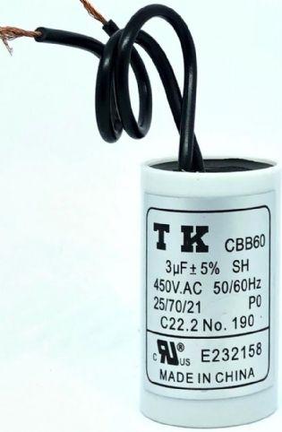 CAPACITOR PPM 3UF 450VCA 26X44MM TERMINAL FIO CBB60