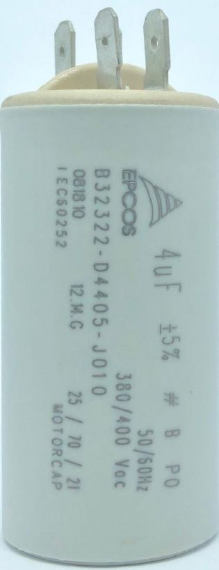 CAPACITOR 4UF 380VAC / 400VAC B32322-D4405-J010 31x61mm TERMINAL FASTON EPCOS