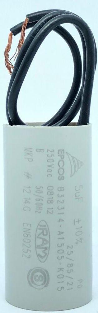 CAPACITOR PPM 5UF 250VCA B32314-A1505-K015 25X47MM FIO EPCOS (B32314A1505K015)