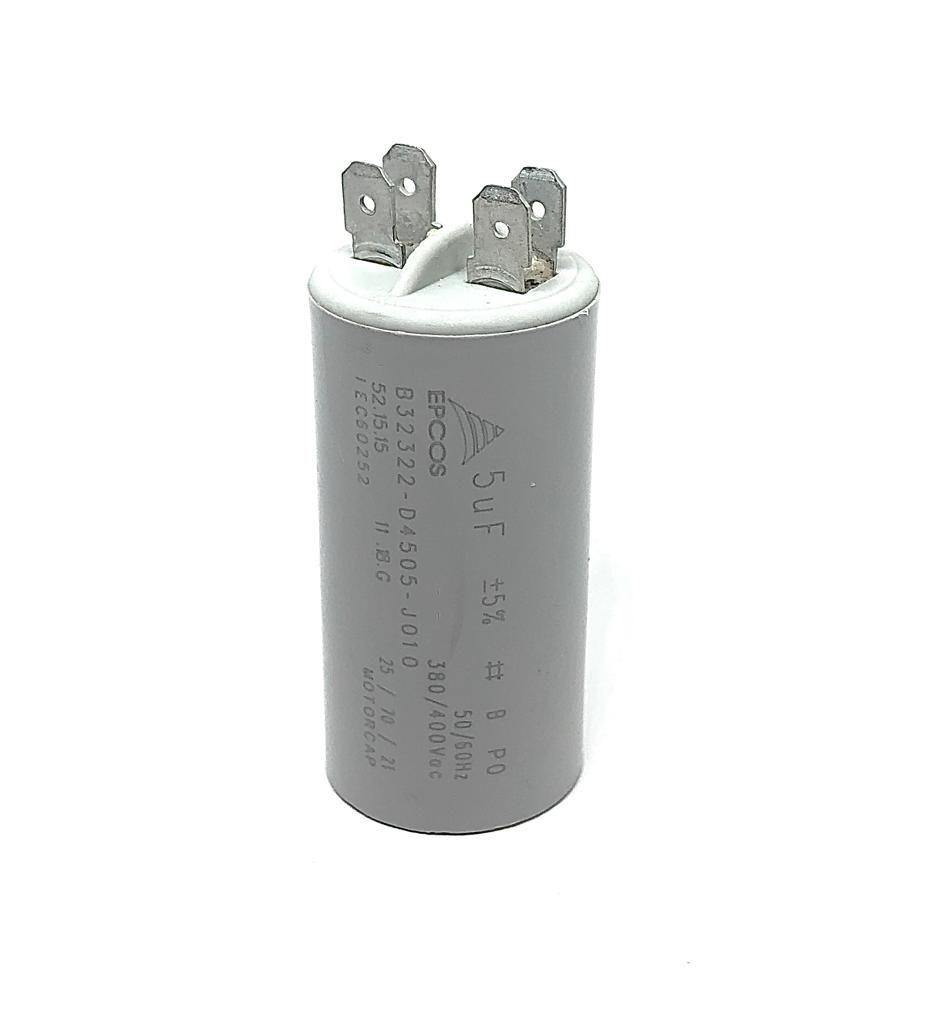 CAPACITOR PPM 5UF 380VCA/400VCA B32322-D4505-J010 31X61MM FASTON EPCOS (B32322D4505J010)