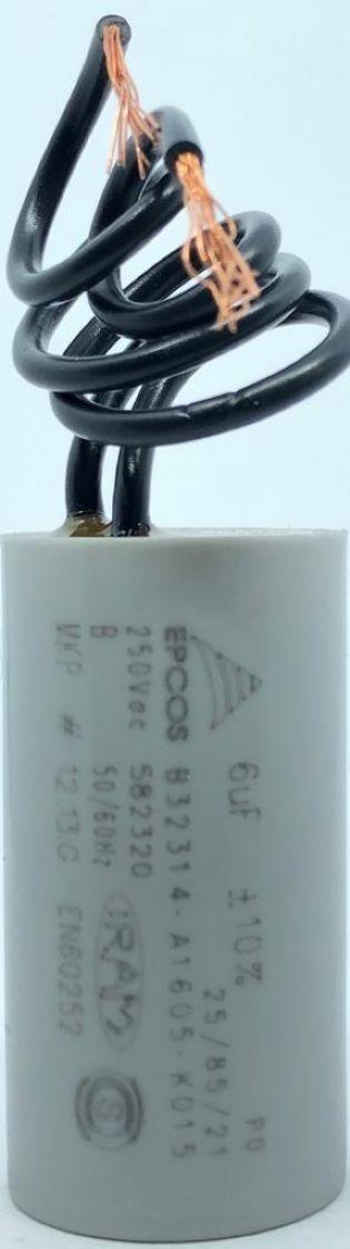 CAPACITOR 6UF 250VAC B32314-A1605-K015 FIO EPCOS