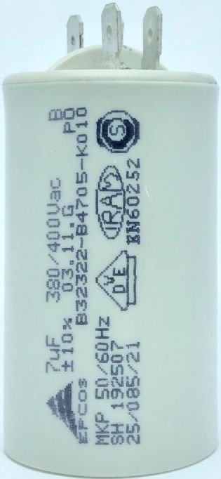 CAPACITOR PPM 7UF 380VCA/400VCA B32322-B4705-K010 36X61MM FASTON EPCOS (B32322B4705K010)