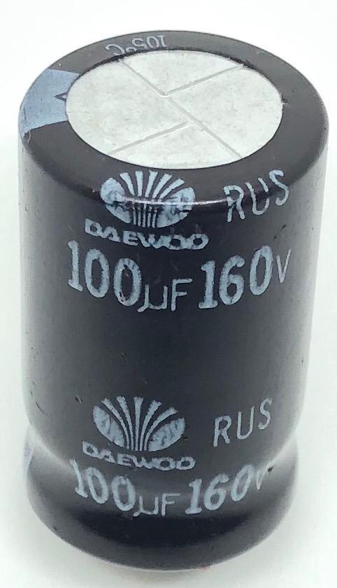 CAPACITOR ELETROLITICO 100UF 160V RADIAL 105ºC 16X26MM DAEWOO (100MF 160V PRÉ-CORTADO)