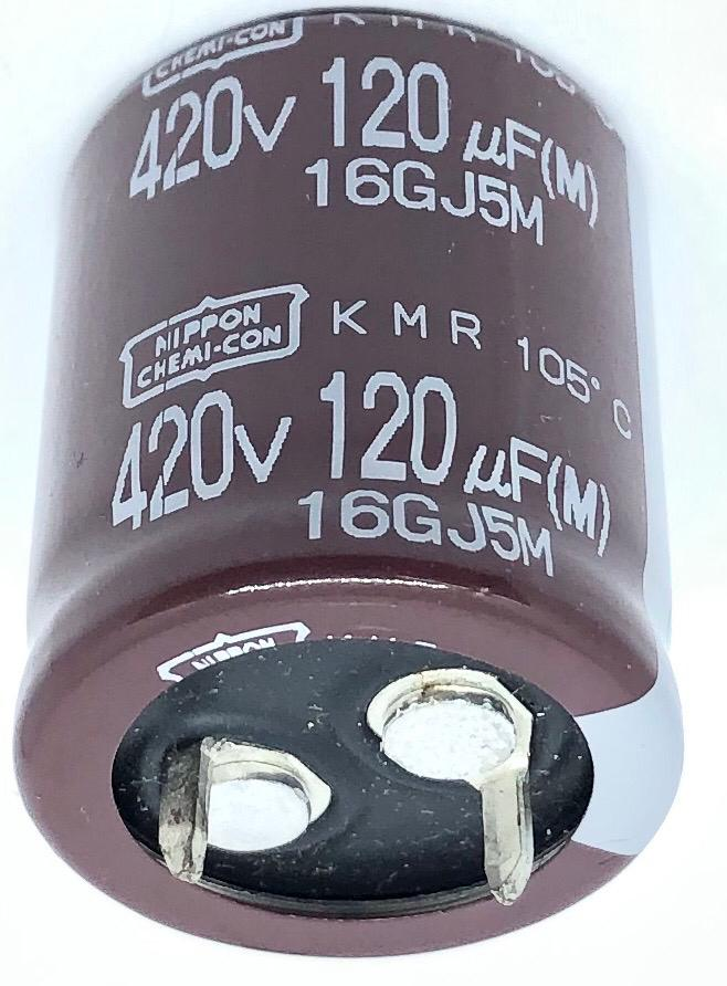 CAPACITOR ELETROLITICO 120UF 420V 105º EKMR421VSN121MP25S 22X25MM CHEMICON
