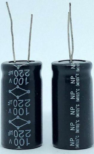 CAPACITOR ELETROLITICO 220UF 100V RADIAL 105ºC 18X36MM NP