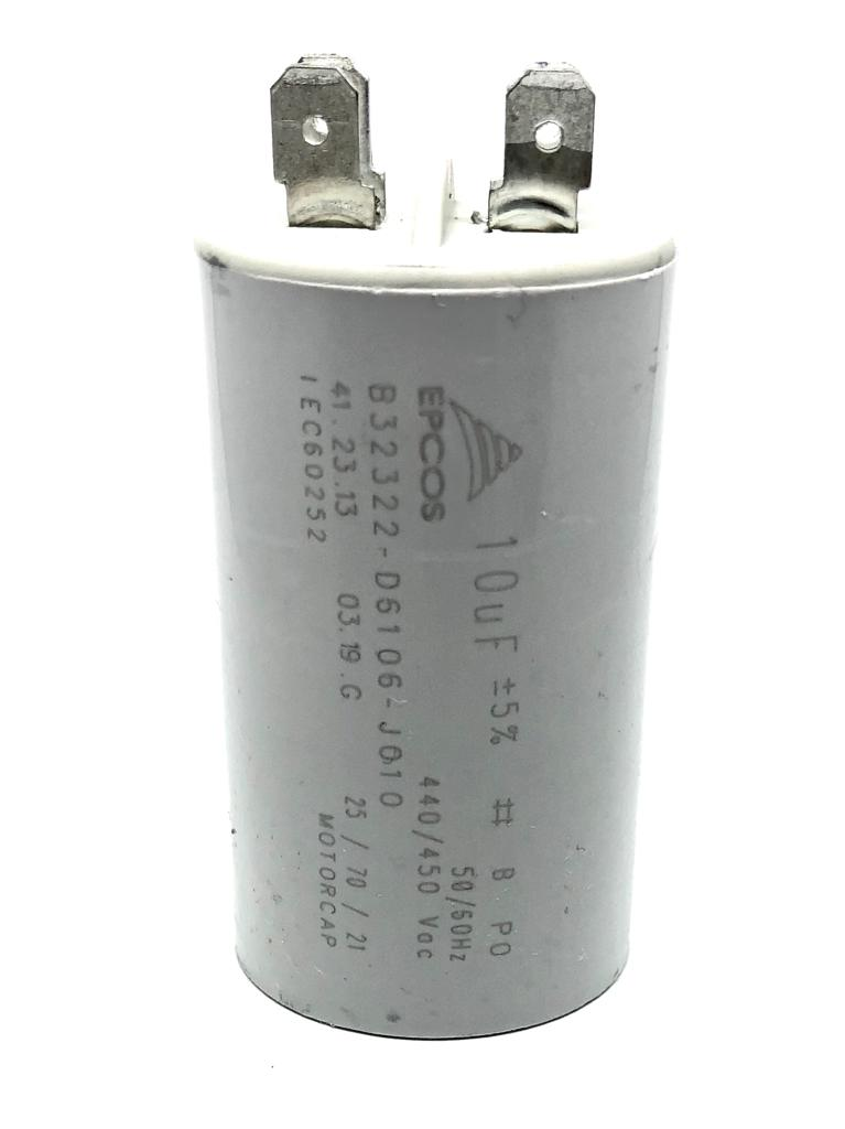 CAPACITOR PPM 10UF 440VCA/450VCA B32322-D6106-J010 35X61MM FASTON EPCOS (B32322A5106K010)
