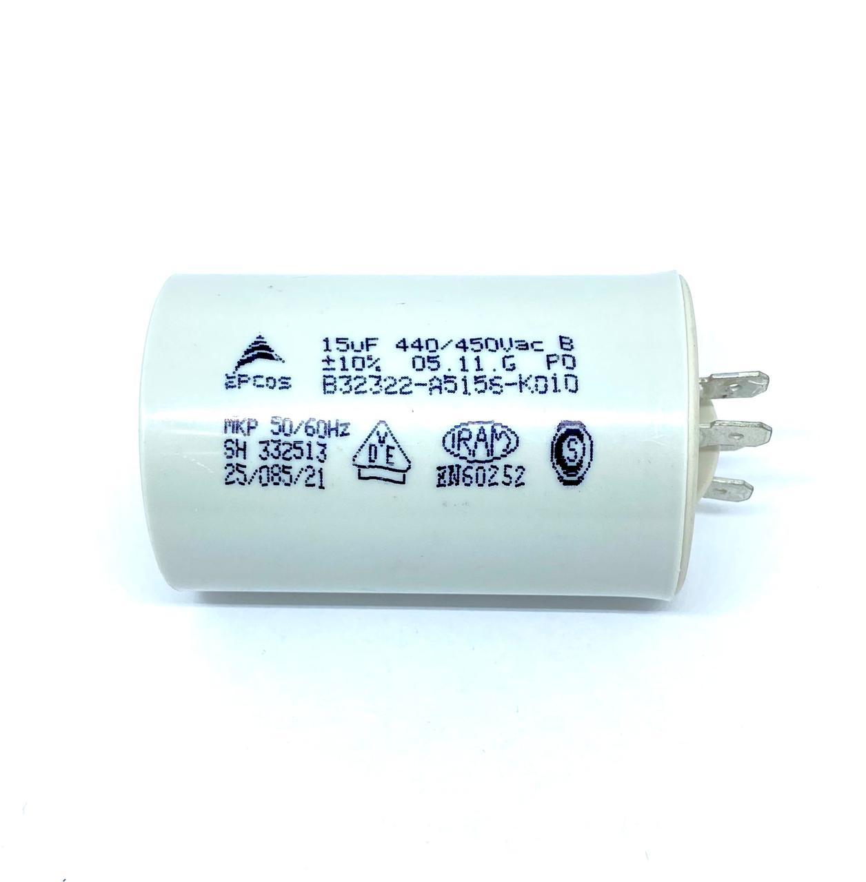 CAPACITOR PPM 15UF 440VCA/450VCA B32322-A5156-K010 40X72MM FASTON EPCOS (B32322A5156K010)